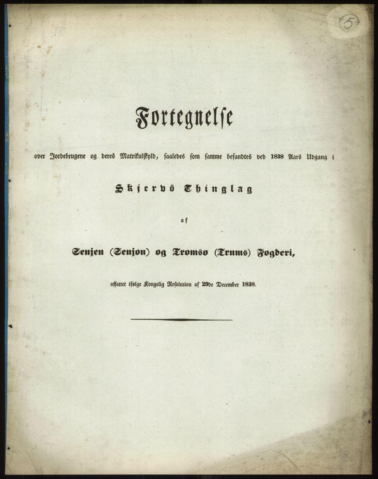 RA, 1838-matrikkelen (publikasjon)*, 1838, s. 5a