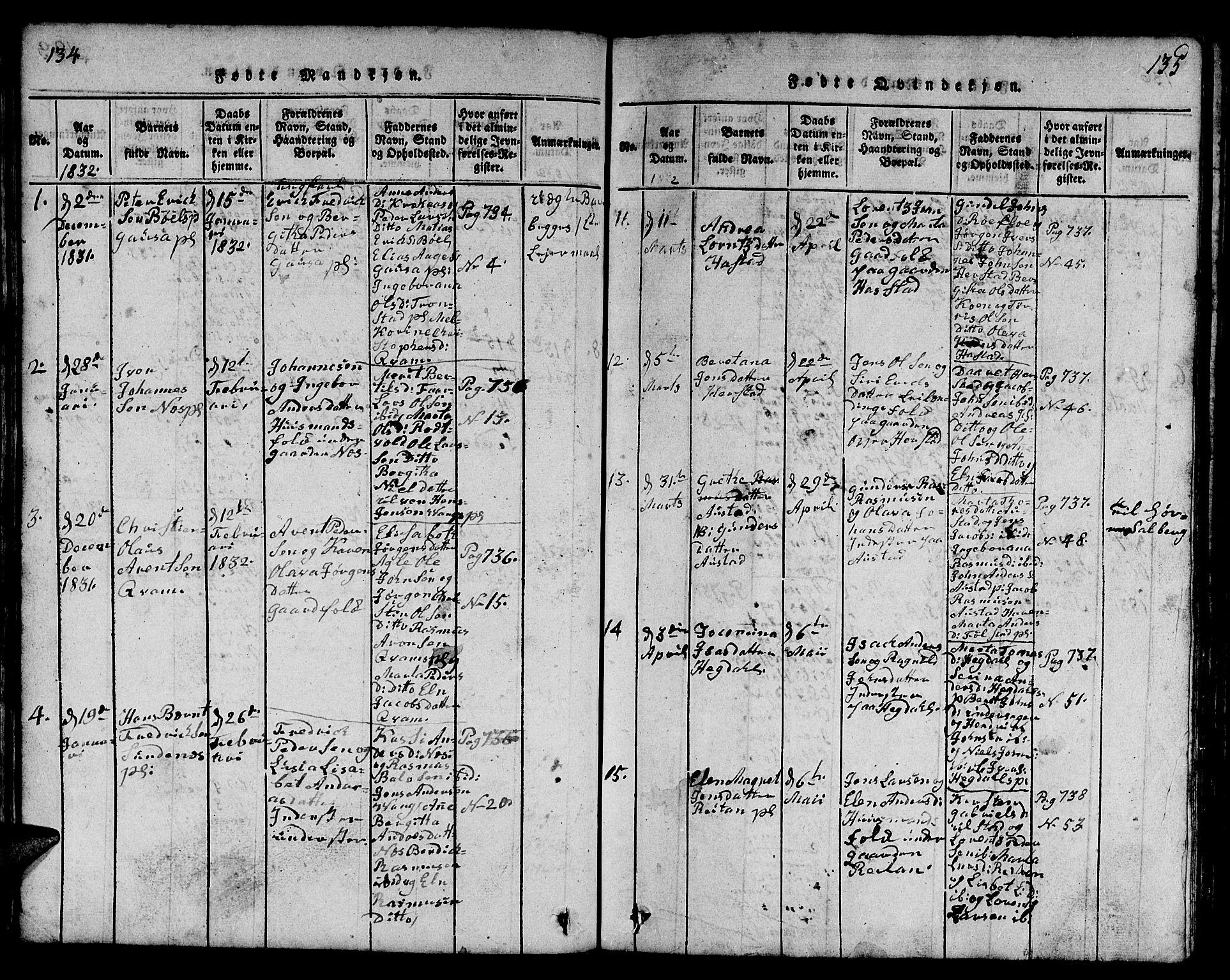 SAT, Ministerialprotokoller, klokkerbøker og fødselsregistre - Nord-Trøndelag, 730/L0298: Klokkerbok nr. 730C01, 1816-1849, s. 134-135