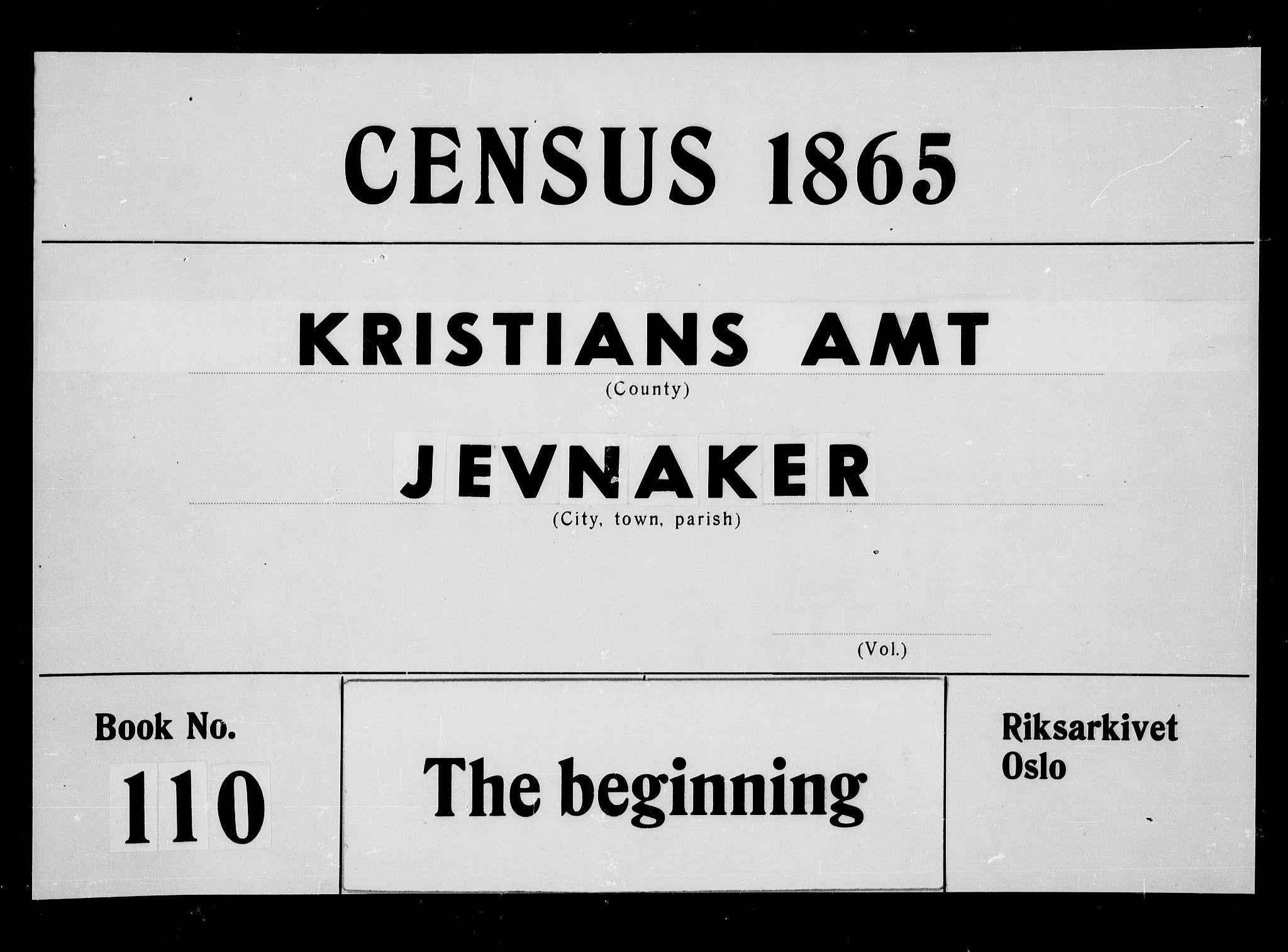 RA, Folketelling 1865 for 0532P Jevnaker prestegjeld, 1865, s. 1