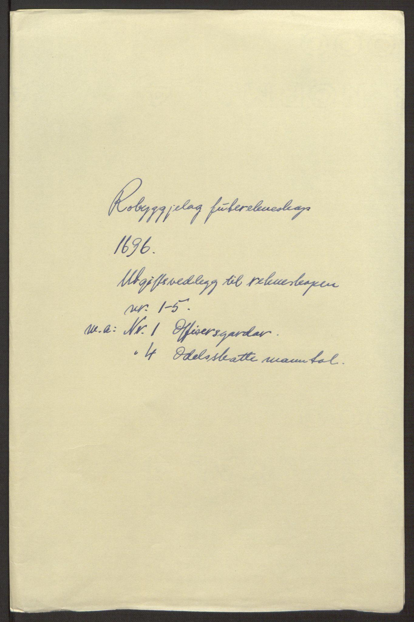 RA, Rentekammeret inntil 1814, Reviderte regnskaper, Fogderegnskap, R40/L2444: Fogderegnskap Råbyggelag, 1693-1696, s. 334