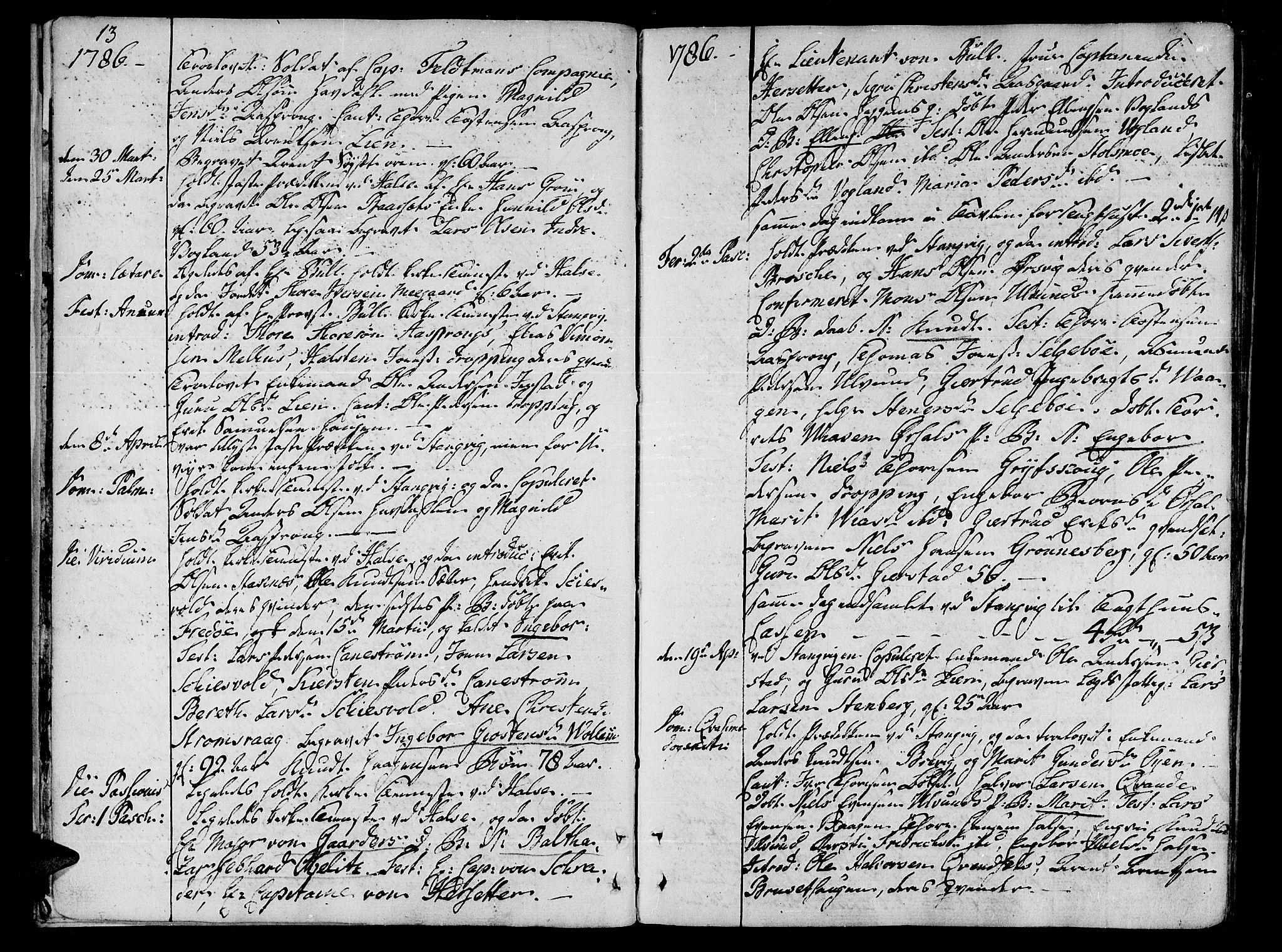 SAT, Ministerialprotokoller, klokkerbøker og fødselsregistre - Møre og Romsdal, 592/L1022: Ministerialbok nr. 592A01, 1784-1819, s. 13