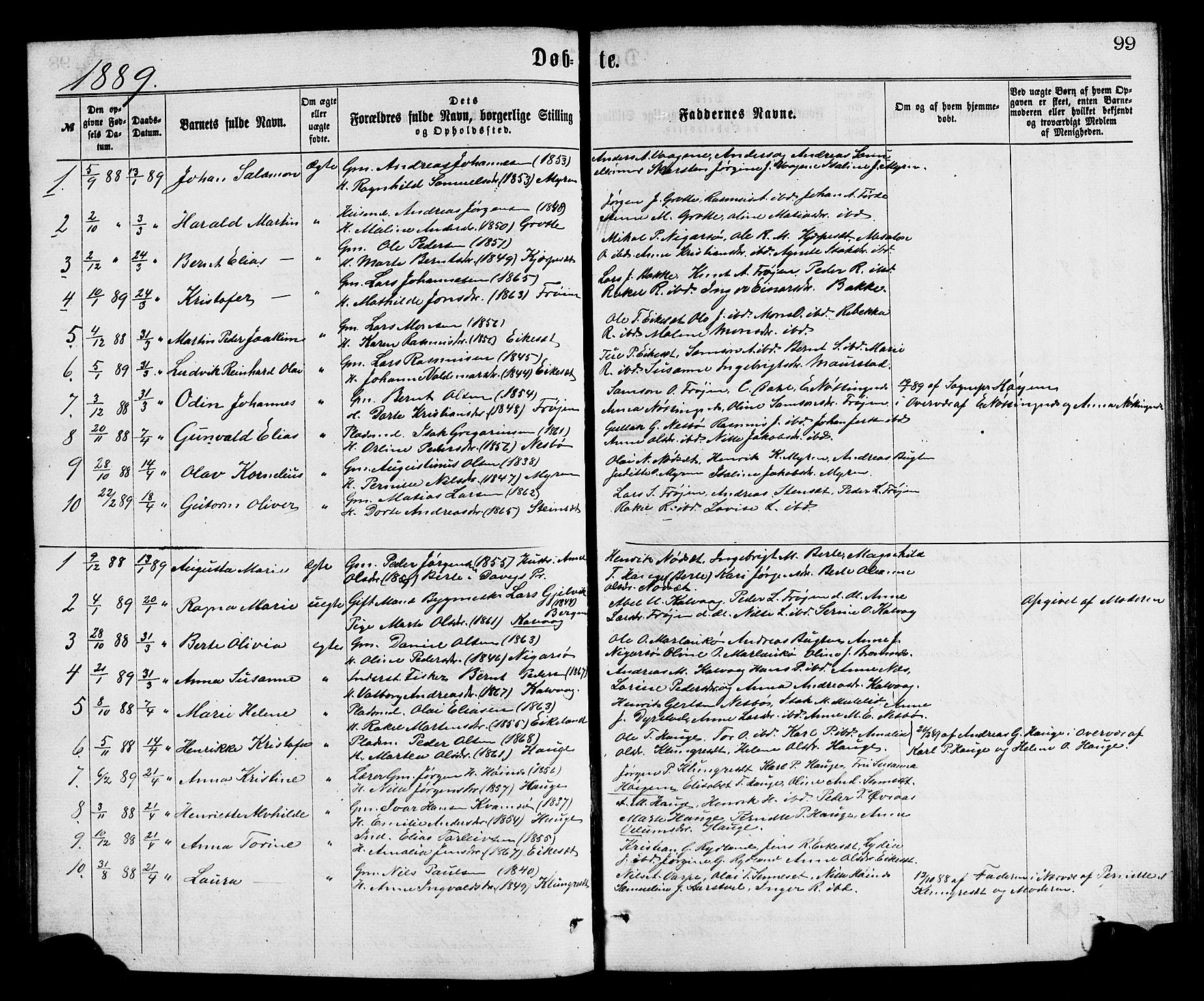 SAB, Bremanger Sokneprestembete, H/Hab: Klokkerbok nr. A 2, 1866-1889, s. 99