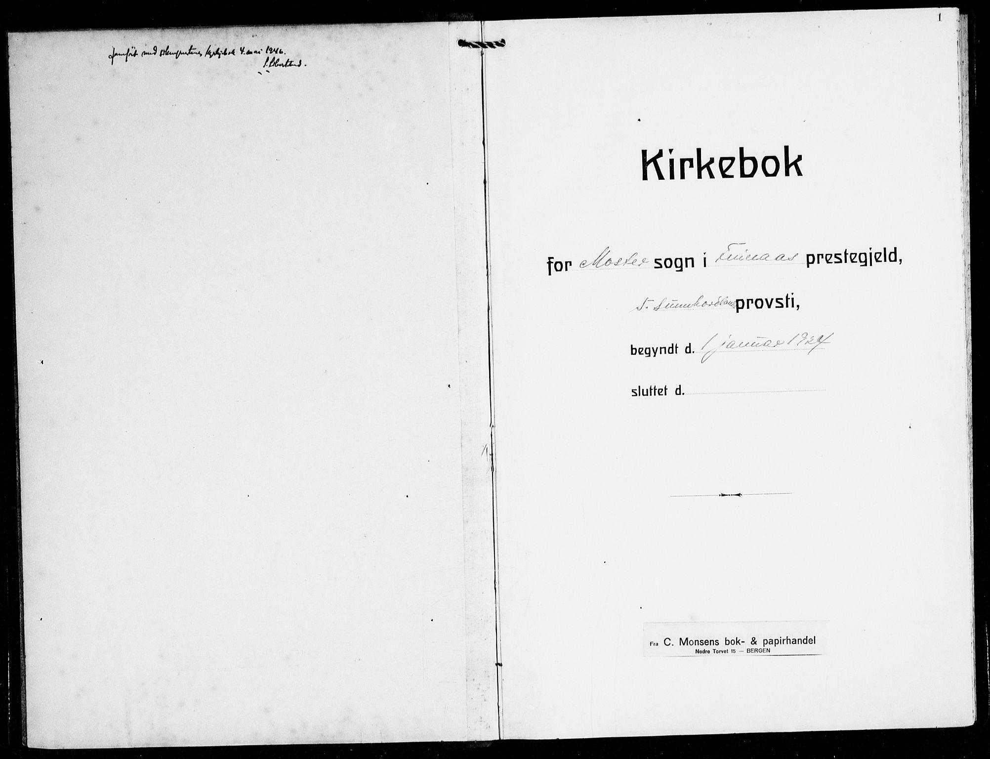 SAB, Finnås sokneprestembete, H/Ha/Hab/Haba/L0005: Klokkerbok nr. A 5, 1924-1945, s. 1