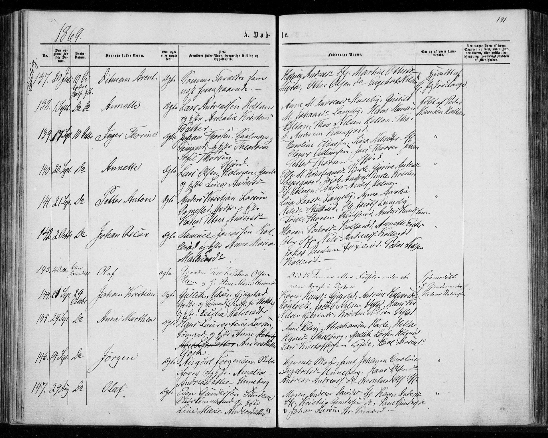 SAKO, Sandar kirkebøker, F/Fa/L0008: Ministerialbok nr. 8, 1862-1871, s. 191
