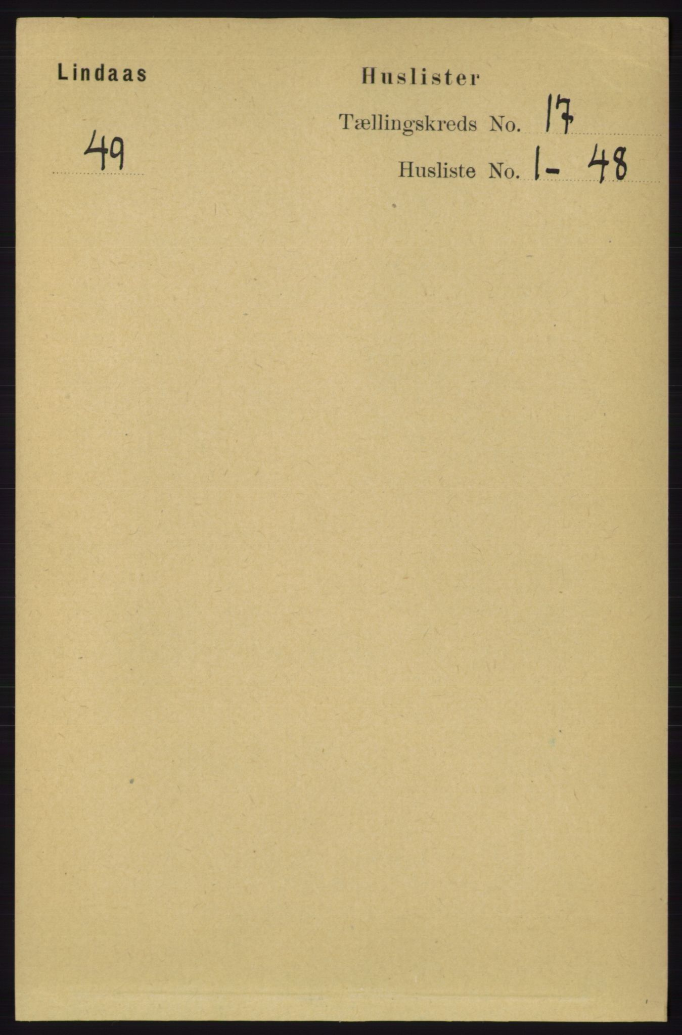 RA, Folketelling 1891 for 1263 Lindås herred, 1891, s. 6081