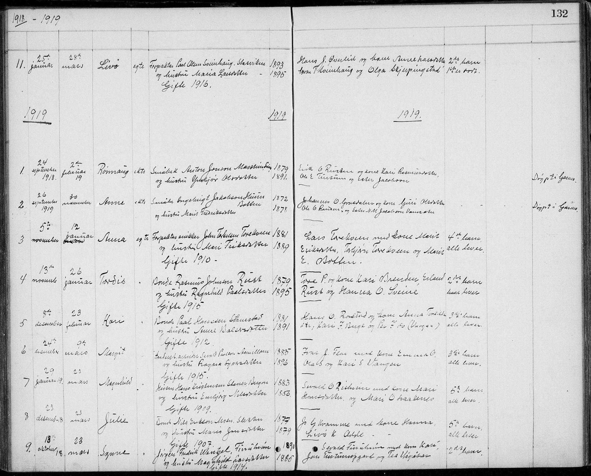 SAH, Lom prestekontor, L/L0013: Klokkerbok nr. 13, 1874-1938, s. 132