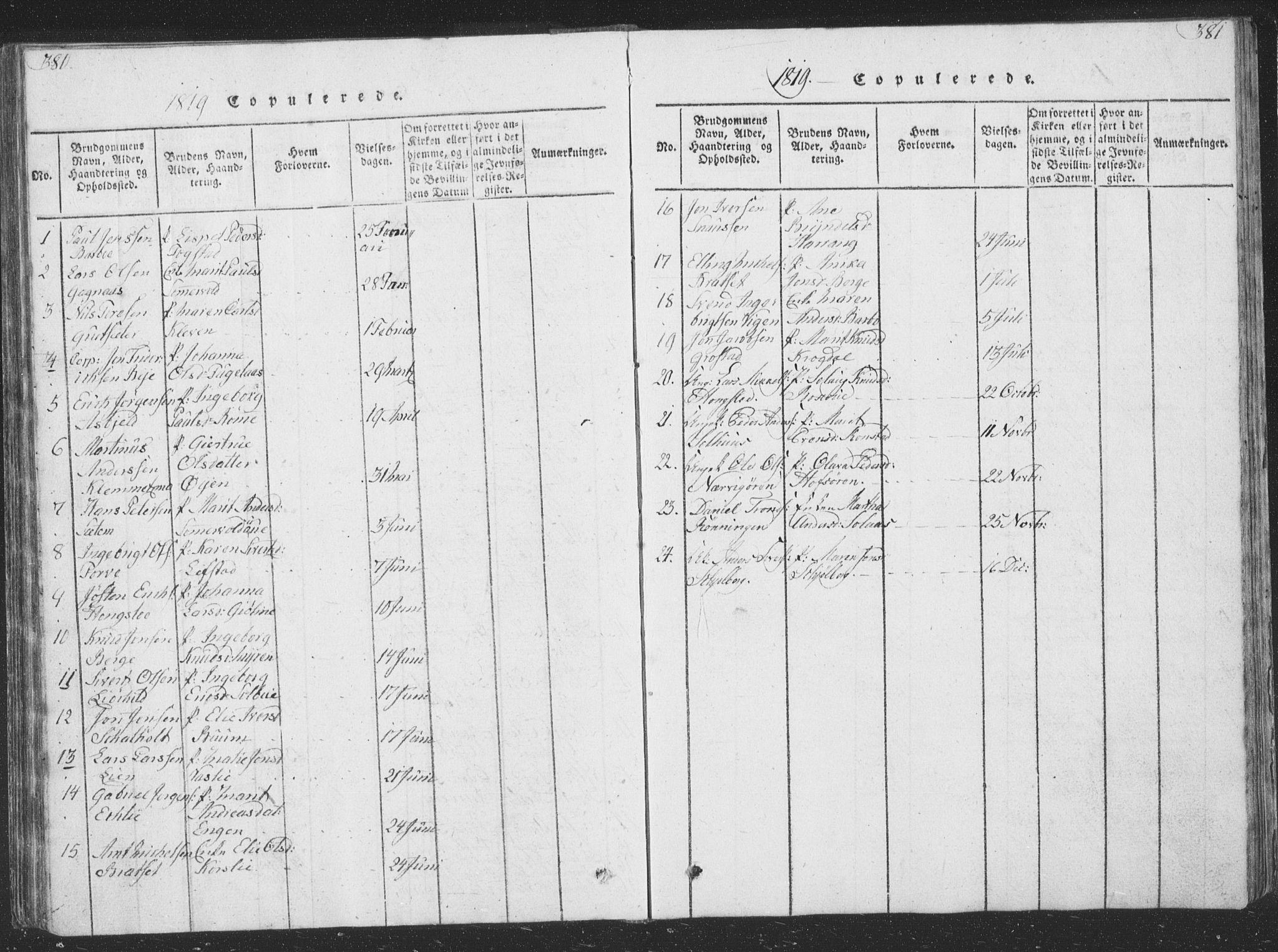 SAT, Ministerialprotokoller, klokkerbøker og fødselsregistre - Sør-Trøndelag, 668/L0816: Klokkerbok nr. 668C05, 1816-1893, s. 380-381