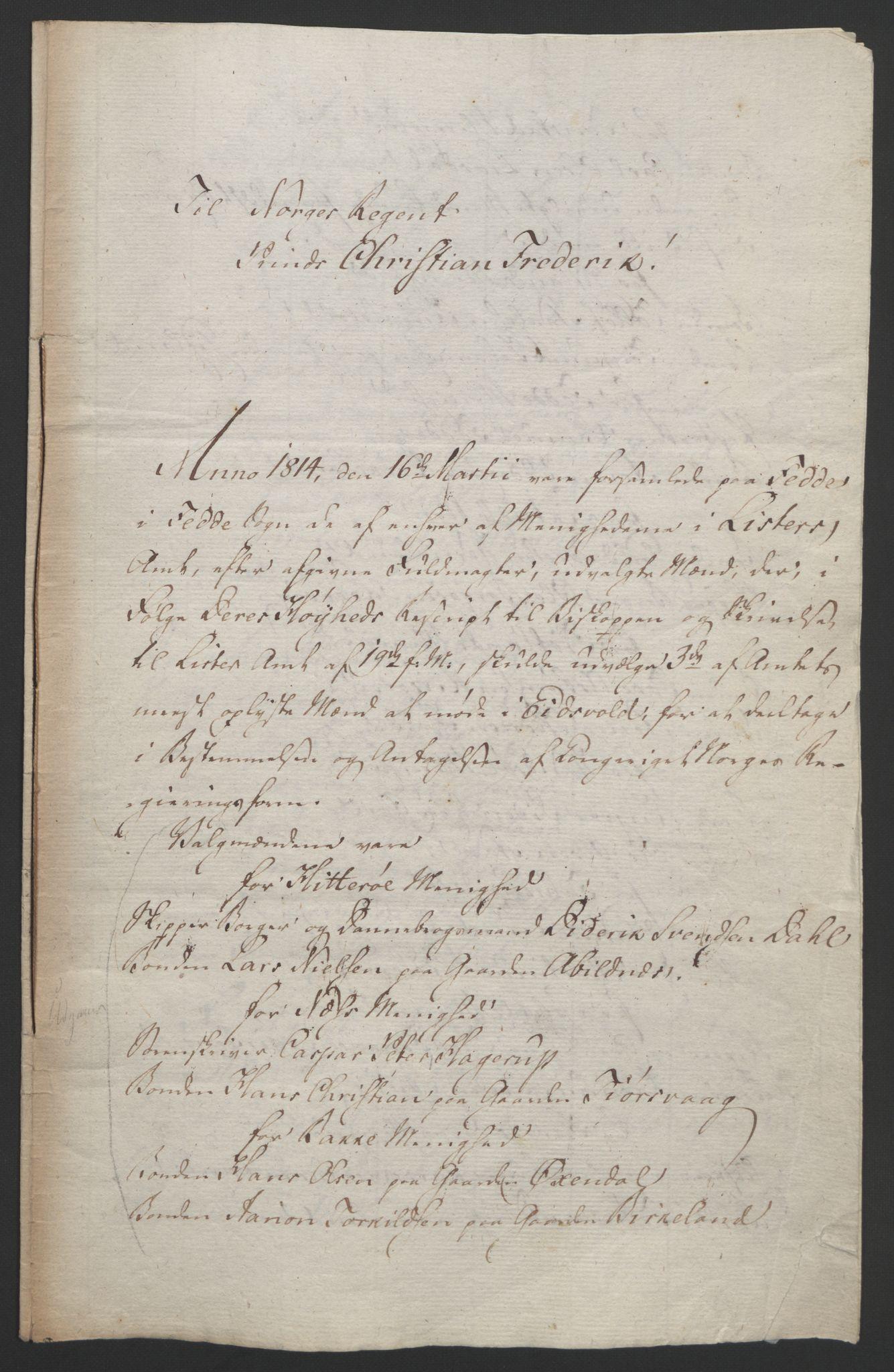 RA, Statsrådssekretariatet, D/Db/L0008: Fullmakter for Eidsvollsrepresentantene i 1814. , 1814, s. 148
