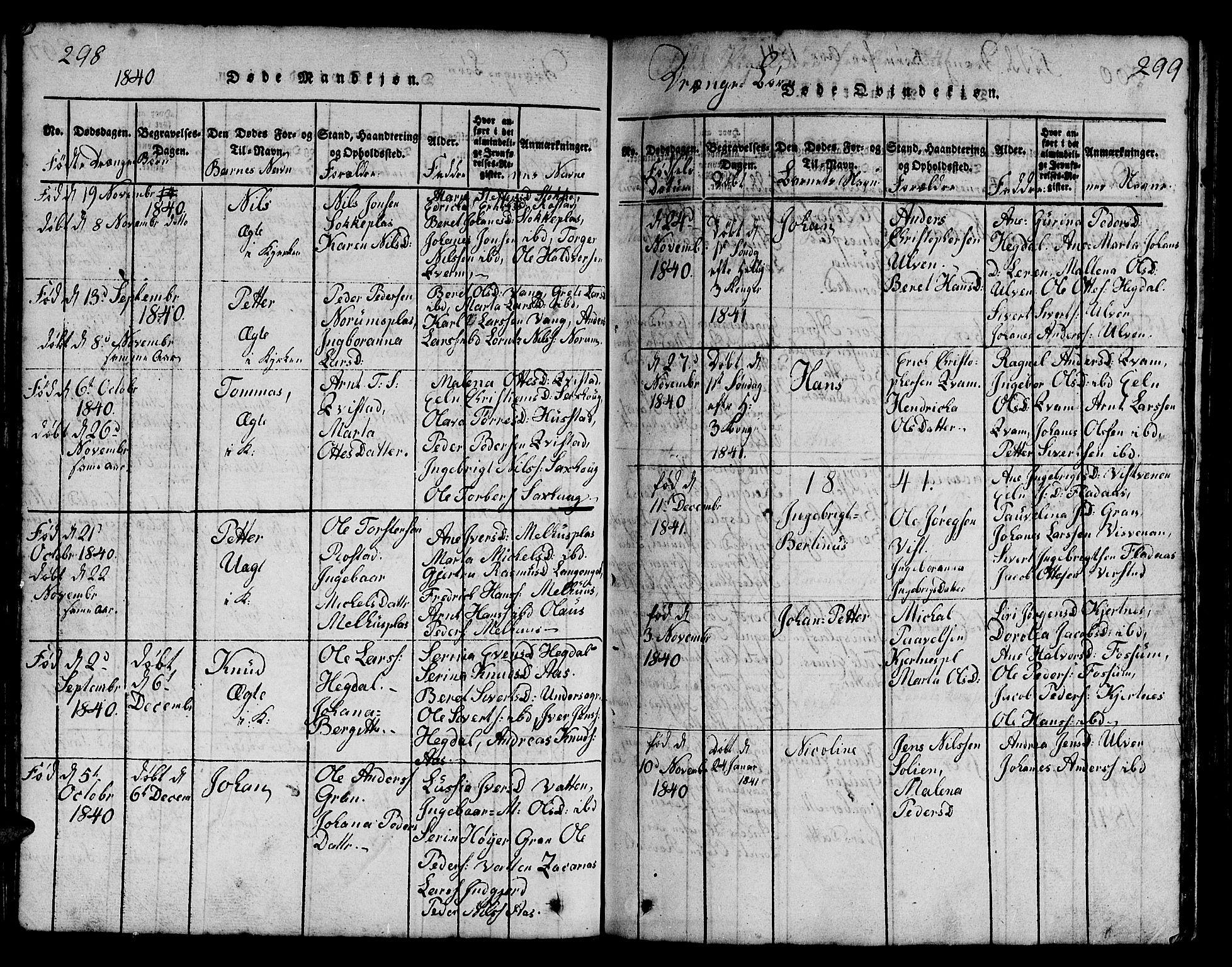 SAT, Ministerialprotokoller, klokkerbøker og fødselsregistre - Nord-Trøndelag, 730/L0298: Klokkerbok nr. 730C01, 1816-1849, s. 298-299