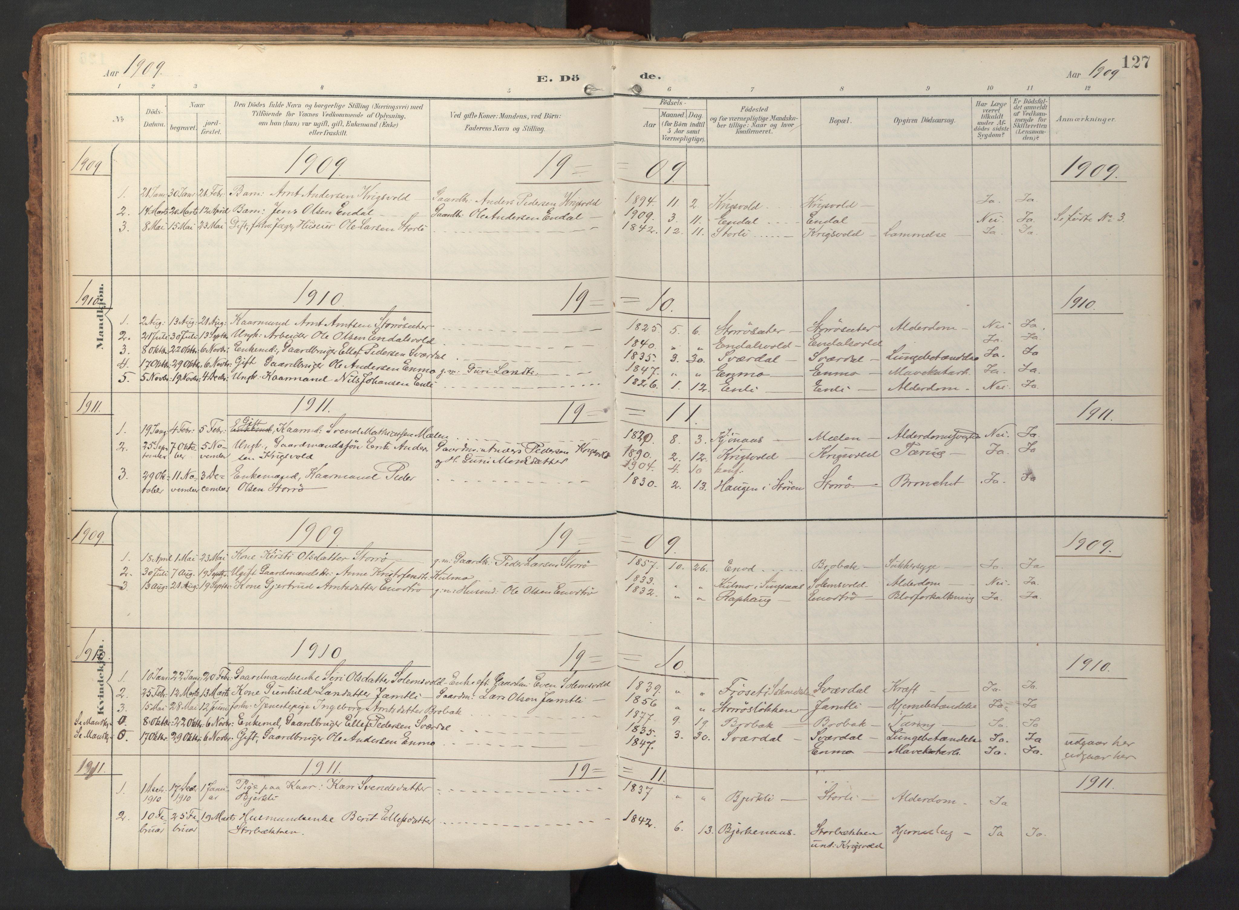 SAT, Ministerialprotokoller, klokkerbøker og fødselsregistre - Sør-Trøndelag, 690/L1050: Ministerialbok nr. 690A01, 1889-1929, s. 127