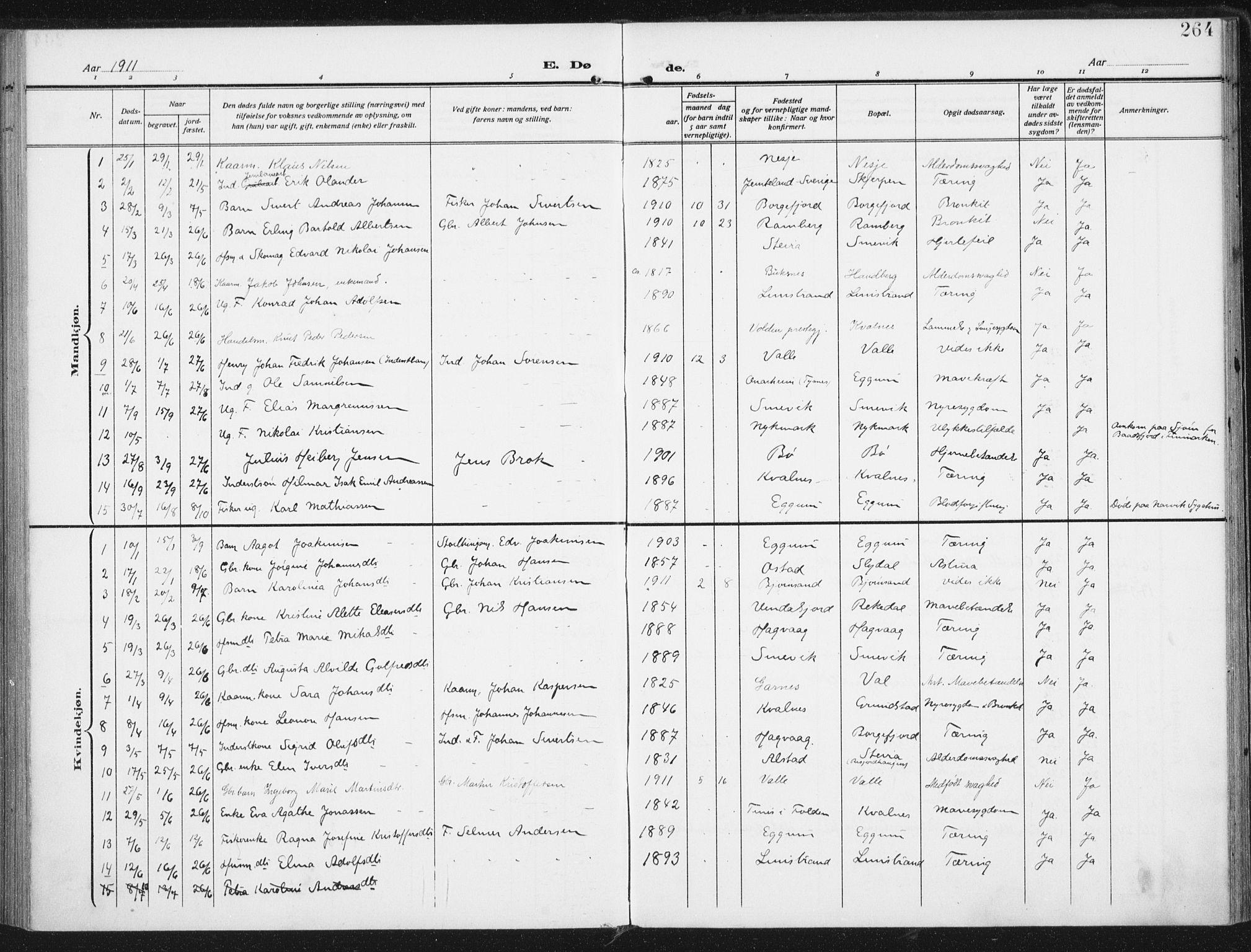 SAT, Ministerialprotokoller, klokkerbøker og fødselsregistre - Nordland, 880/L1135: Ministerialbok nr. 880A09, 1908-1919, s. 264