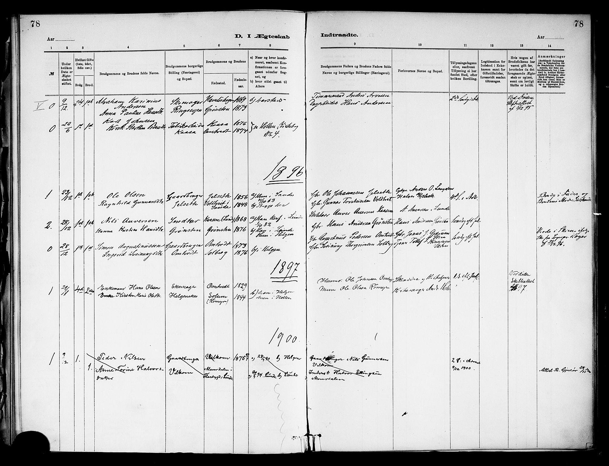 SAKO, Holla kirkebøker, F/Fa/L0009: Ministerialbok nr. 9, 1881-1897, s. 78