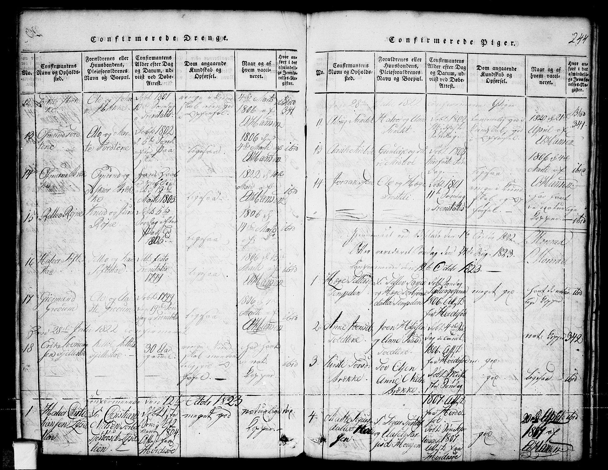 SAKO, Nissedal kirkebøker, G/Ga/L0001: Klokkerbok nr. I 1, 1814-1860, s. 244