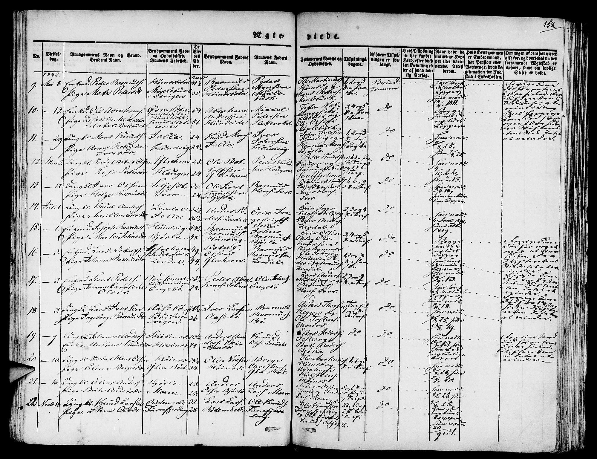 SAB, Eid Sokneprestembete, H/Haa: Ministerialbok nr. A 6, 1831-1843, s. 152
