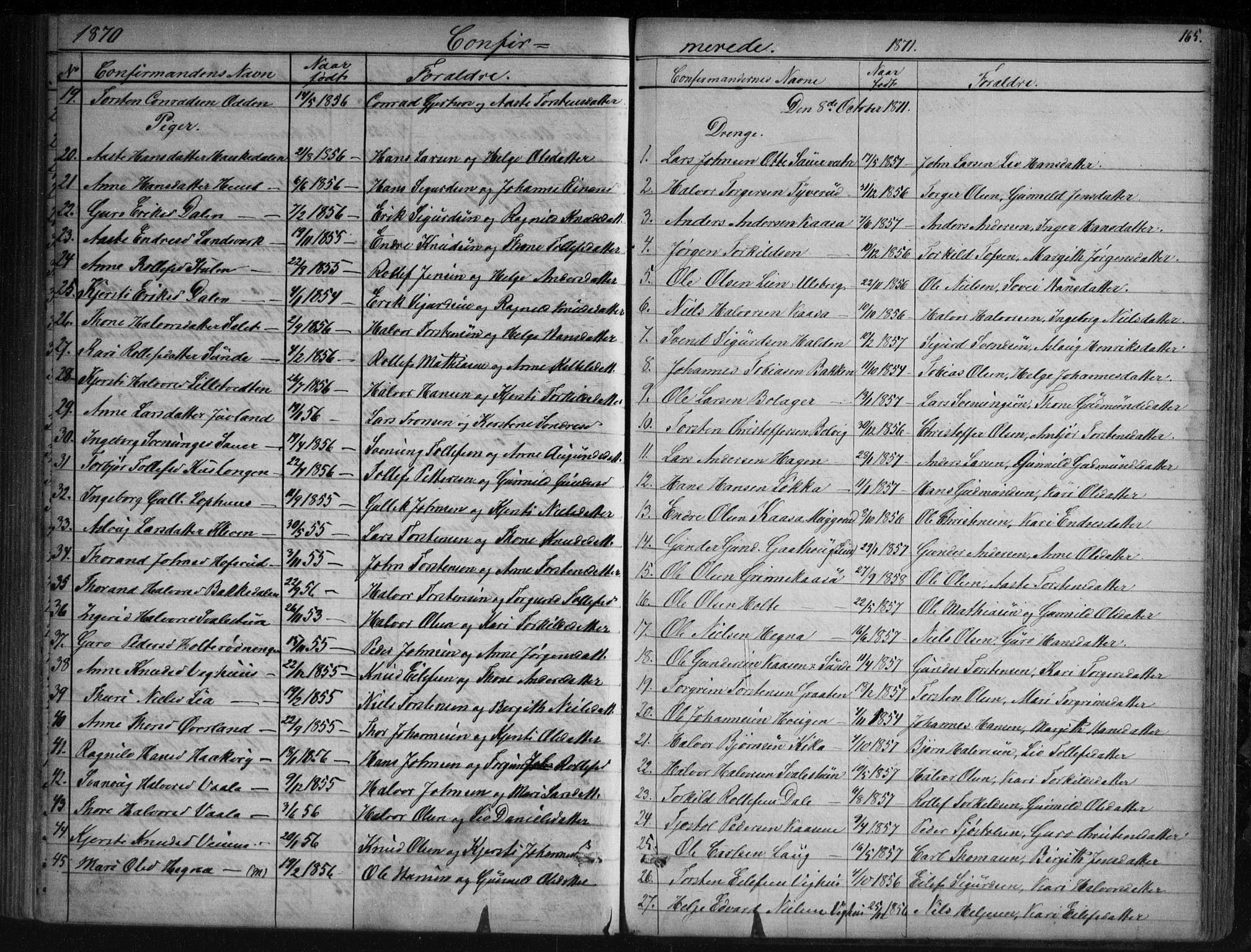 SAKO, Sauherad kirkebøker, G/Ga/L0003: Klokkerbok nr. I 3, 1866-1905, s. 165