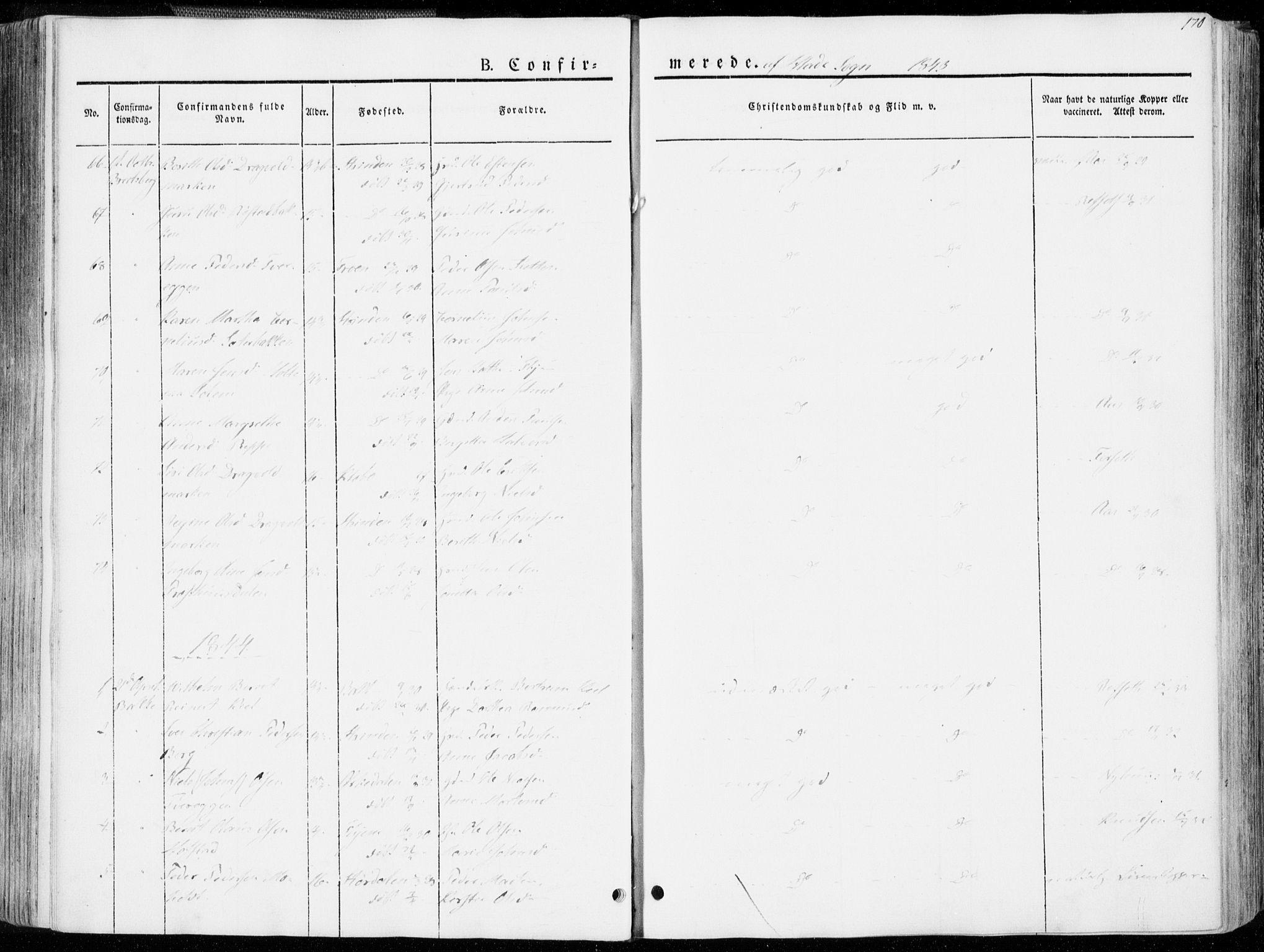 SAT, Ministerialprotokoller, klokkerbøker og fødselsregistre - Sør-Trøndelag, 606/L0290: Ministerialbok nr. 606A05, 1841-1847, s. 170