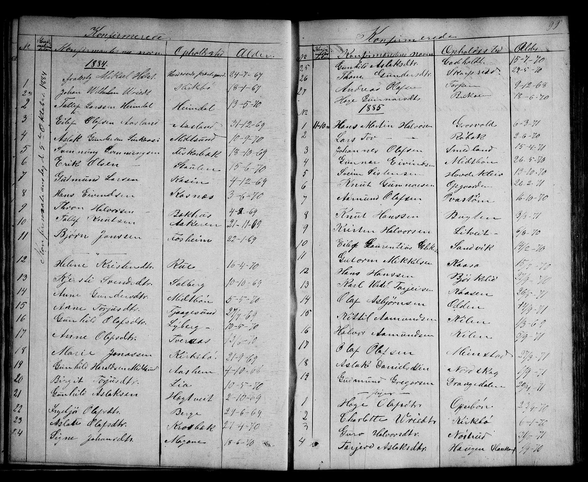 SAKO, Kviteseid kirkebøker, G/Ga/L0001: Klokkerbok nr. I 1, 1850-1893, s. 99