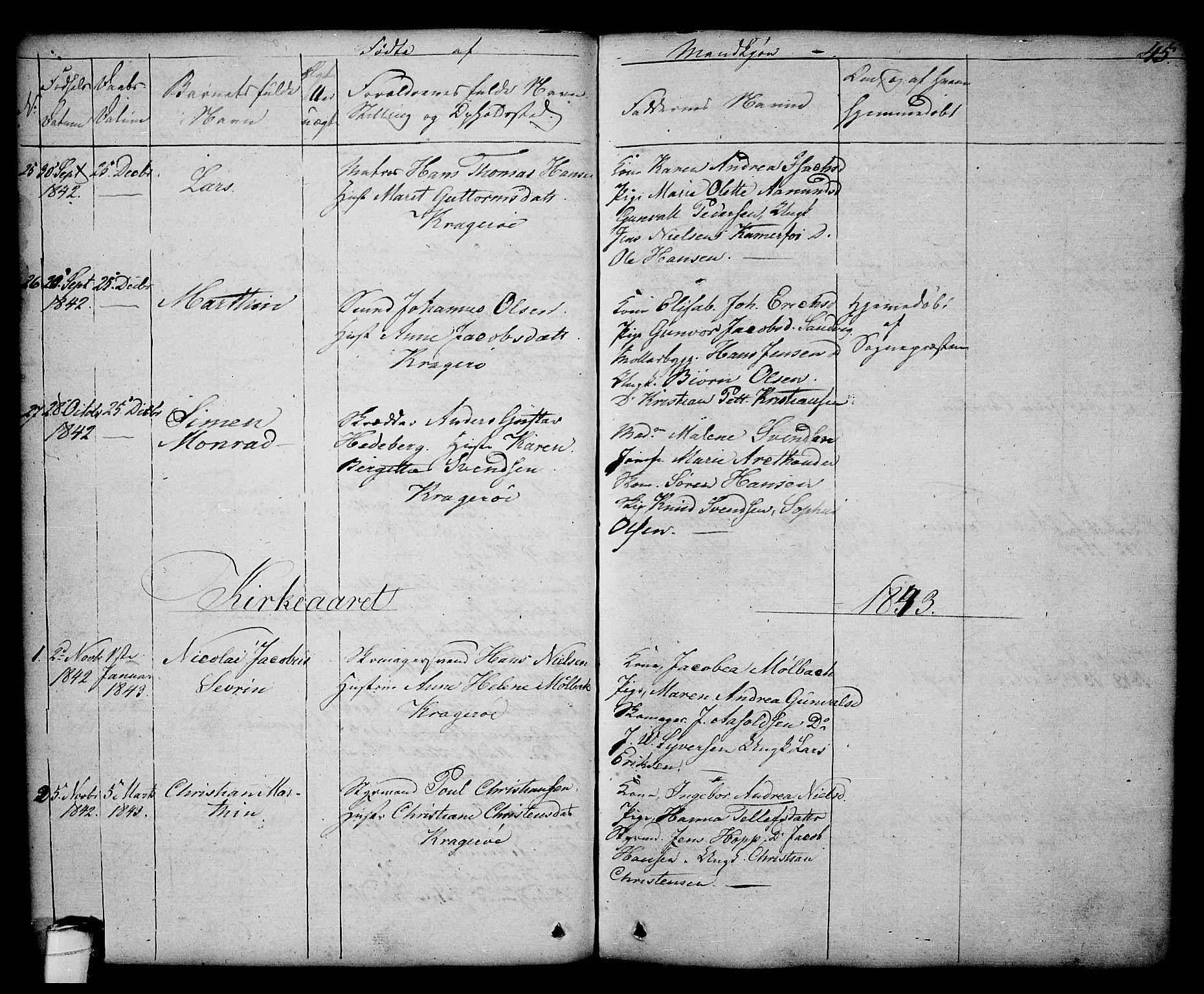 SAKO, Kragerø kirkebøker, G/Ga/L0003: Klokkerbok nr. 3, 1832-1852, s. 45