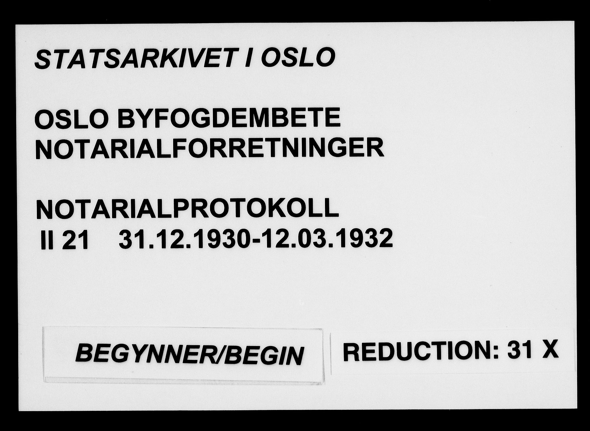 SAO, Oslo byfogd avd. I, L/Lb/Lbb/L0021: Notarialprotokoll, rekke II: Vigsler, 1930-1932, s. upaginert