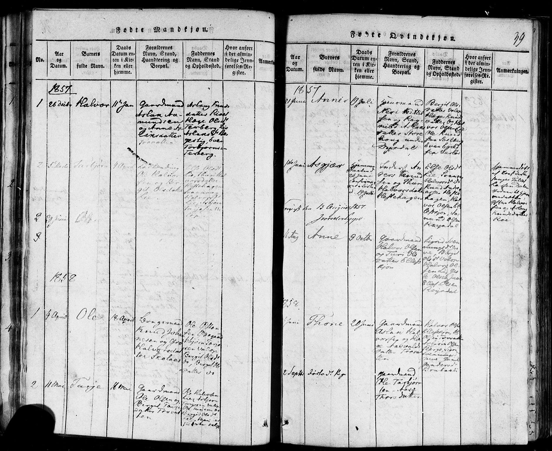 SAKO, Rauland kirkebøker, F/Fa/L0002: Ministerialbok nr. 2, 1815-1860, s. 39