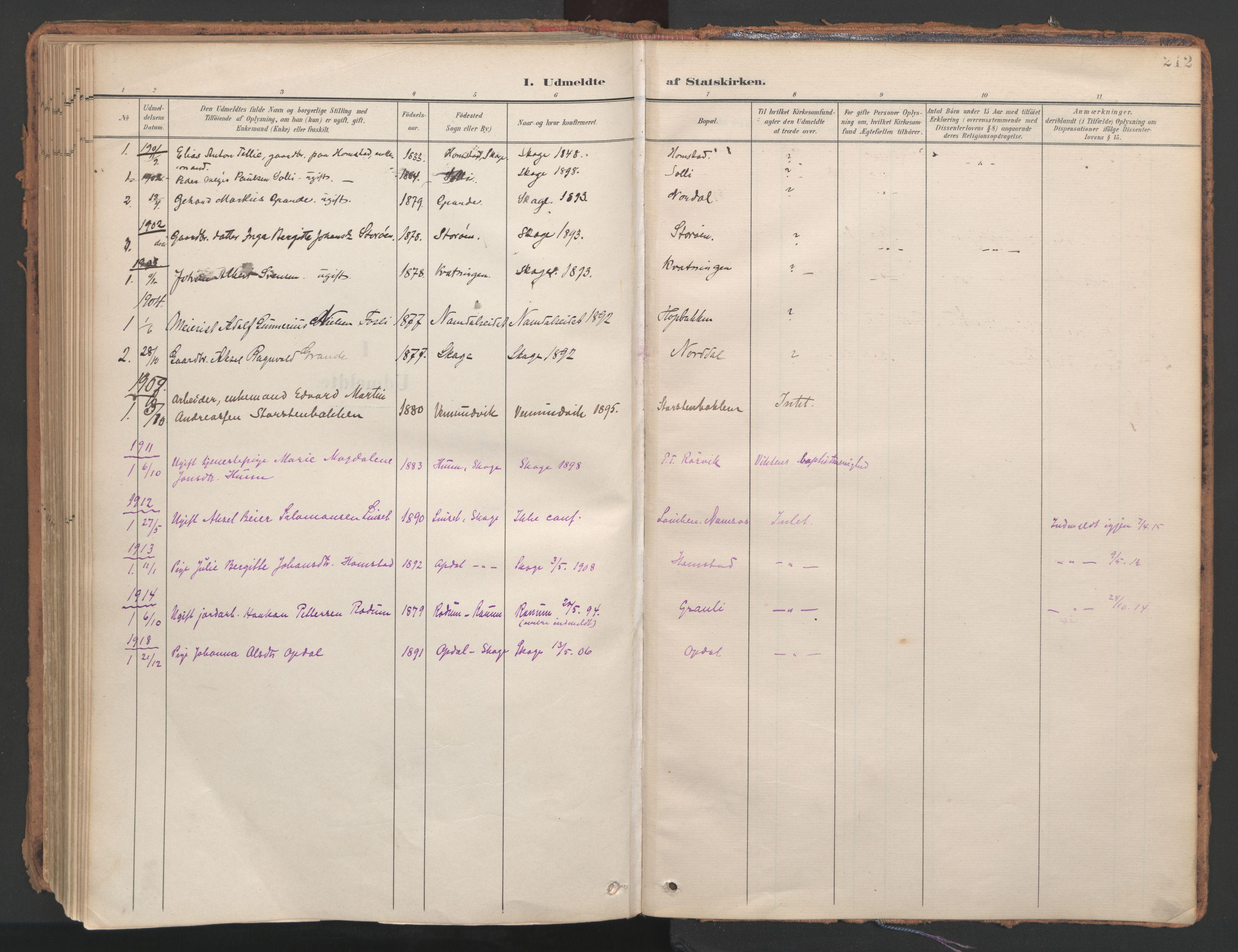 SAT, Ministerialprotokoller, klokkerbøker og fødselsregistre - Nord-Trøndelag, 766/L0564: Ministerialbok nr. 767A02, 1900-1932, s. 212