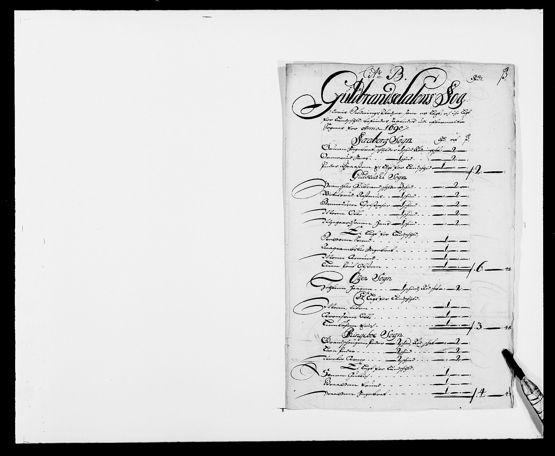 RA, Rentekammeret inntil 1814, Reviderte regnskaper, Fogderegnskap, R17/L1165: Fogderegnskap Gudbrandsdal, 1690-1692, s. 47