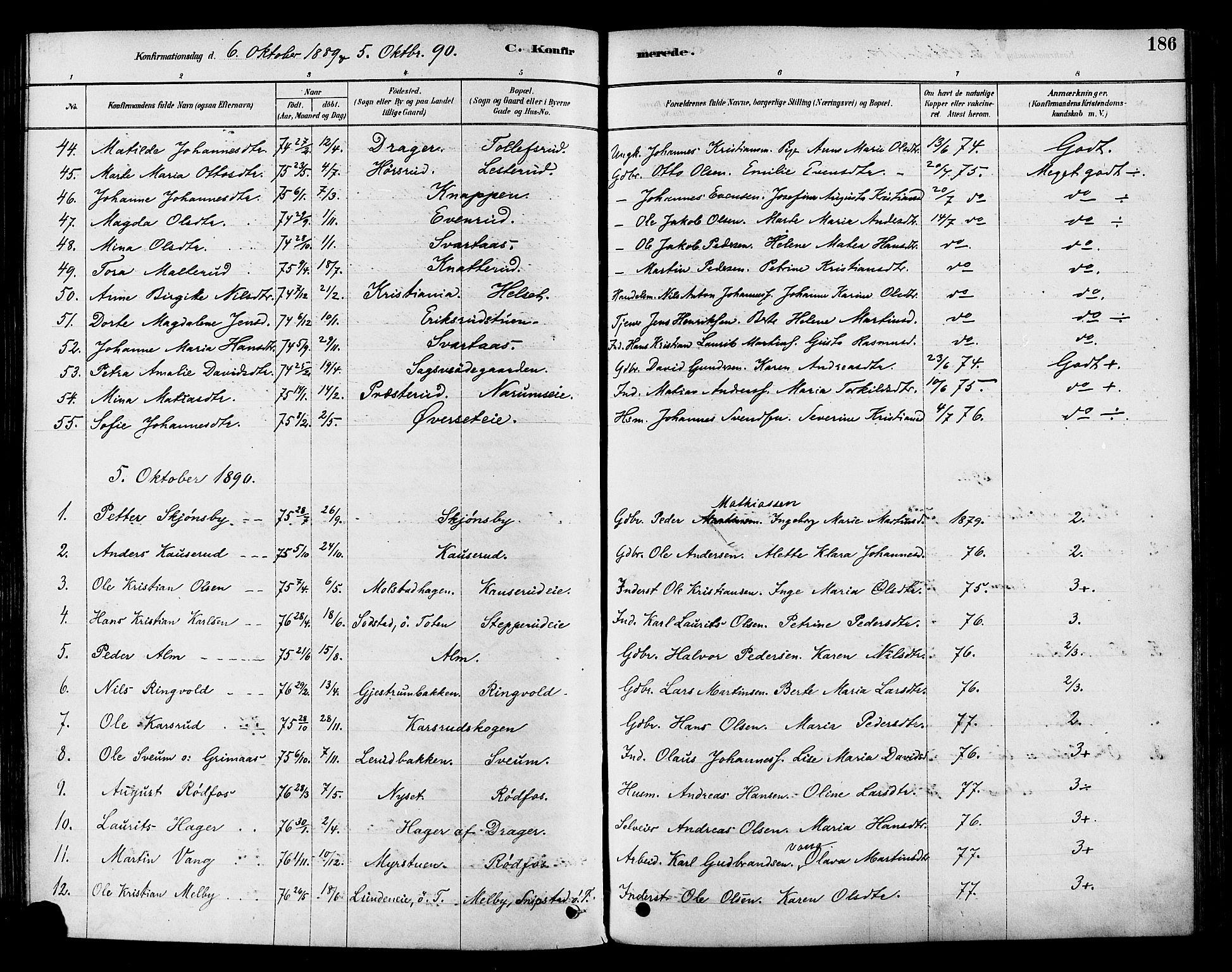 SAH, Vestre Toten prestekontor, H/Ha/Haa/L0009: Ministerialbok nr. 9, 1878-1894, s. 186