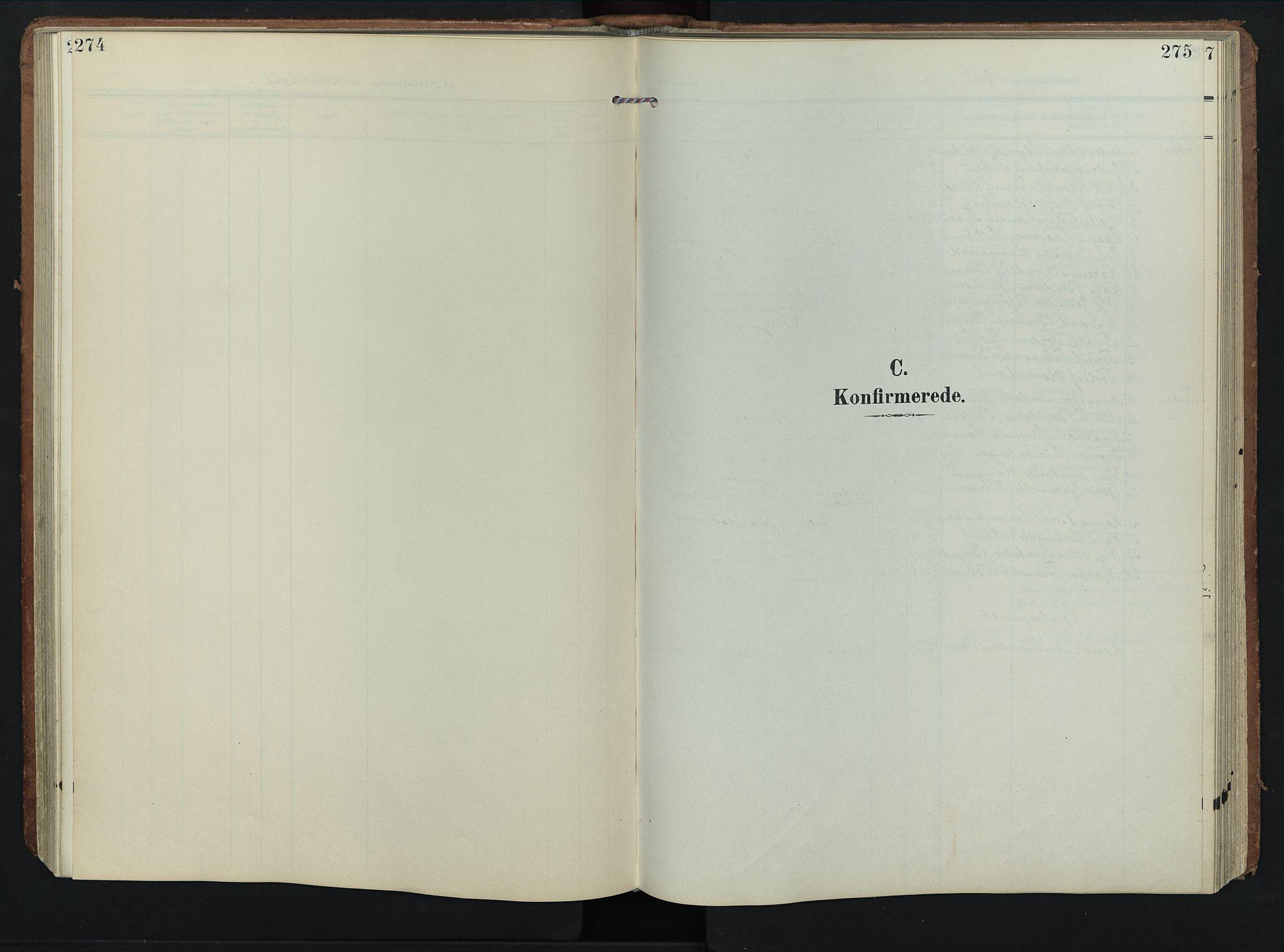 SAH, Rendalen prestekontor, H/Ha/Hab/L0004: Klokkerbok nr. 4, 1904-1946, s. 274-275