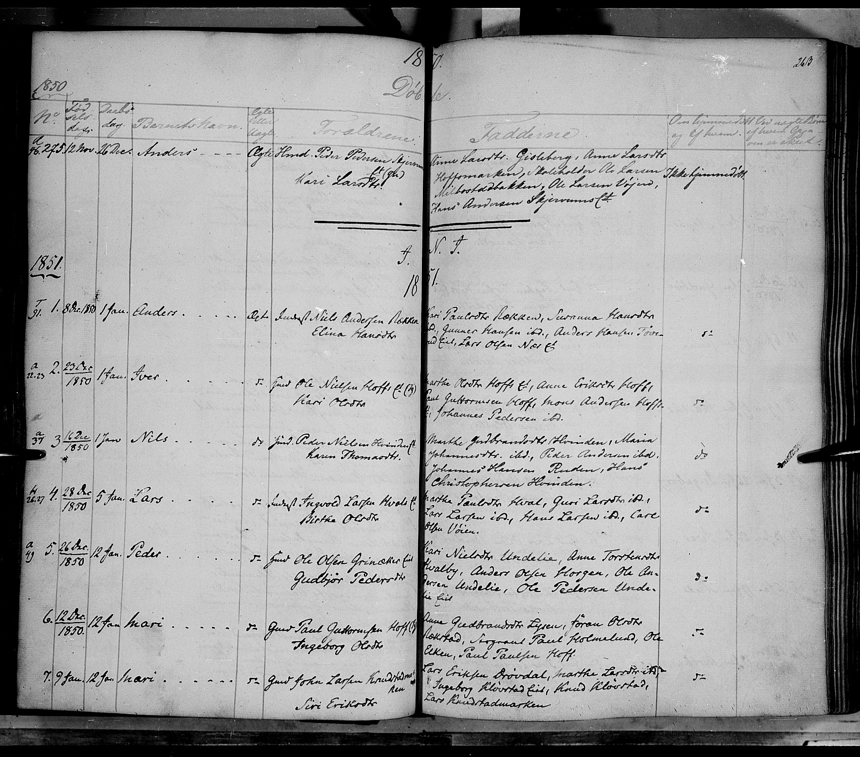 SAH, Gran prestekontor, Ministerialbok nr. 11, 1842-1856, s. 262-263