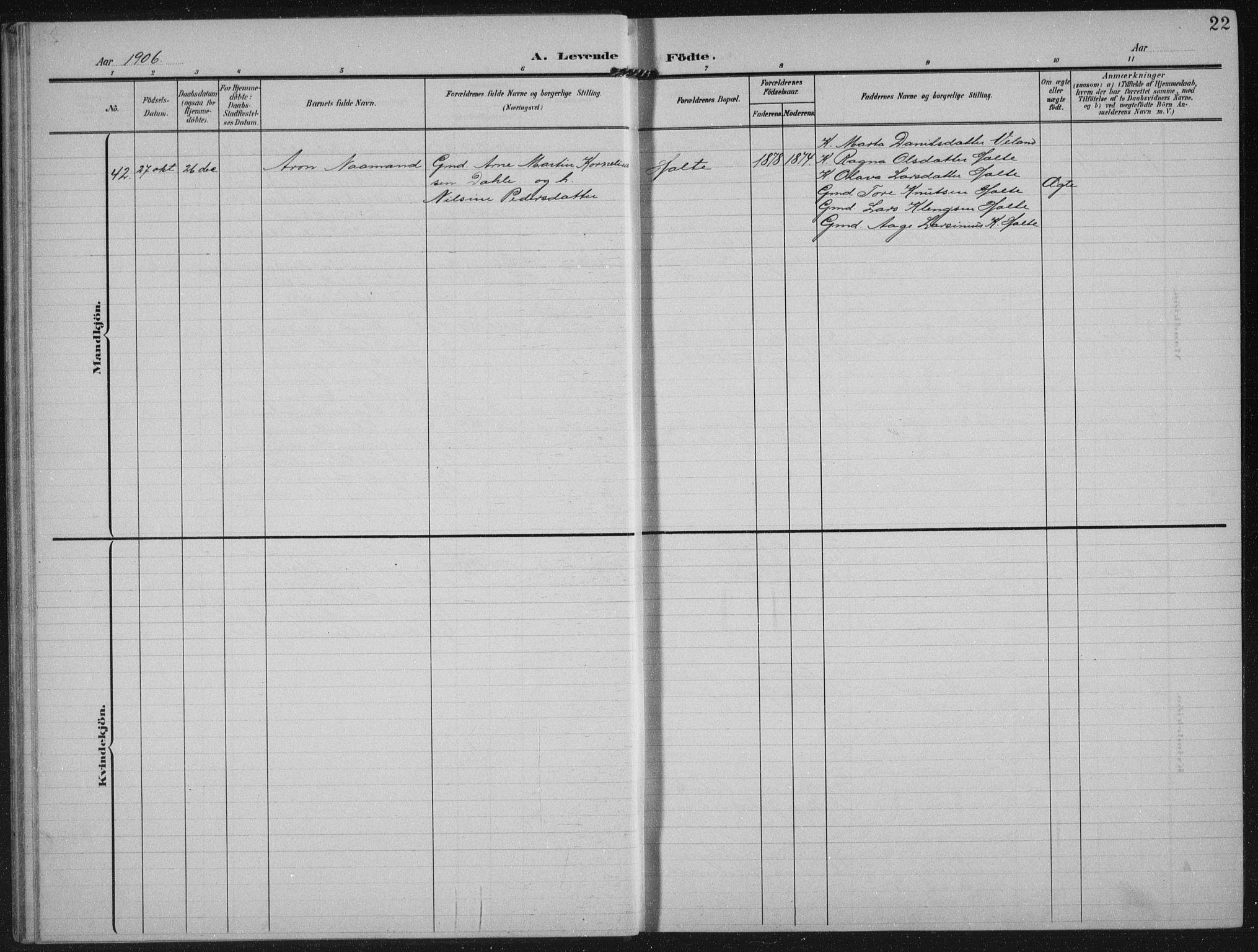 SAST, Strand sokneprestkontor, H/Ha/Hab/L0005: Klokkerbok nr. B 5, 1904-1934, s. 22