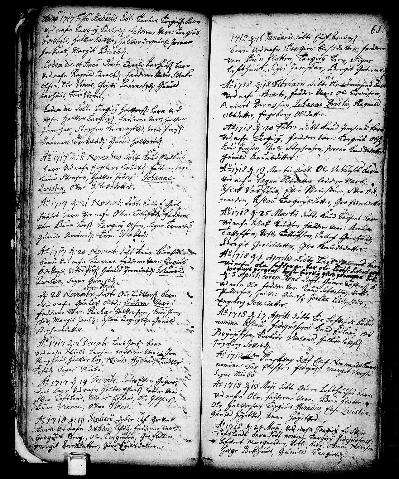 SAKO, Vinje kirkebøker, F/Fa/L0001: Ministerialbok nr. I 1, 1717-1766, s. 61