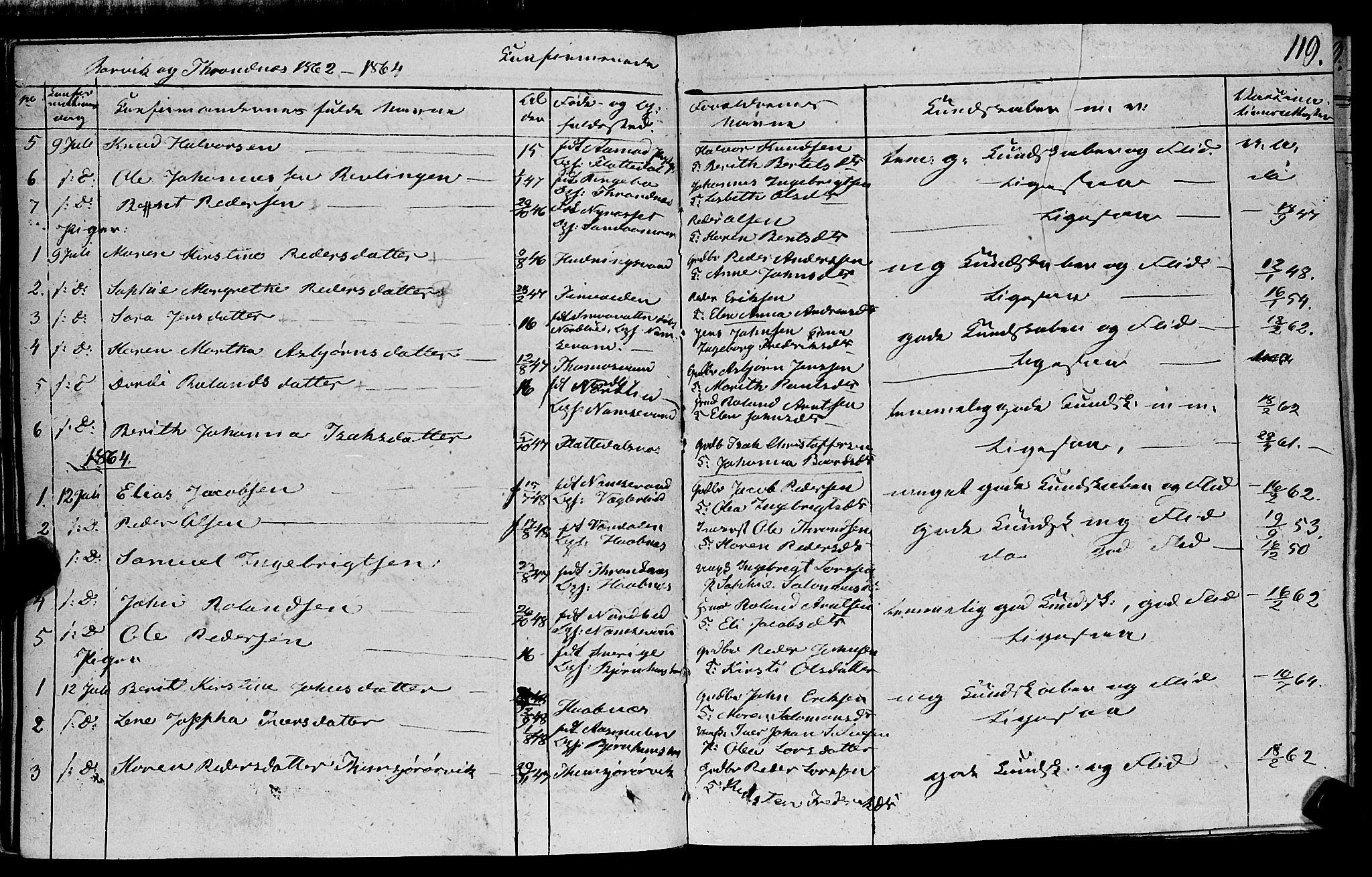 SAT, Ministerialprotokoller, klokkerbøker og fødselsregistre - Nord-Trøndelag, 762/L0538: Ministerialbok nr. 762A02 /1, 1833-1879, s. 119
