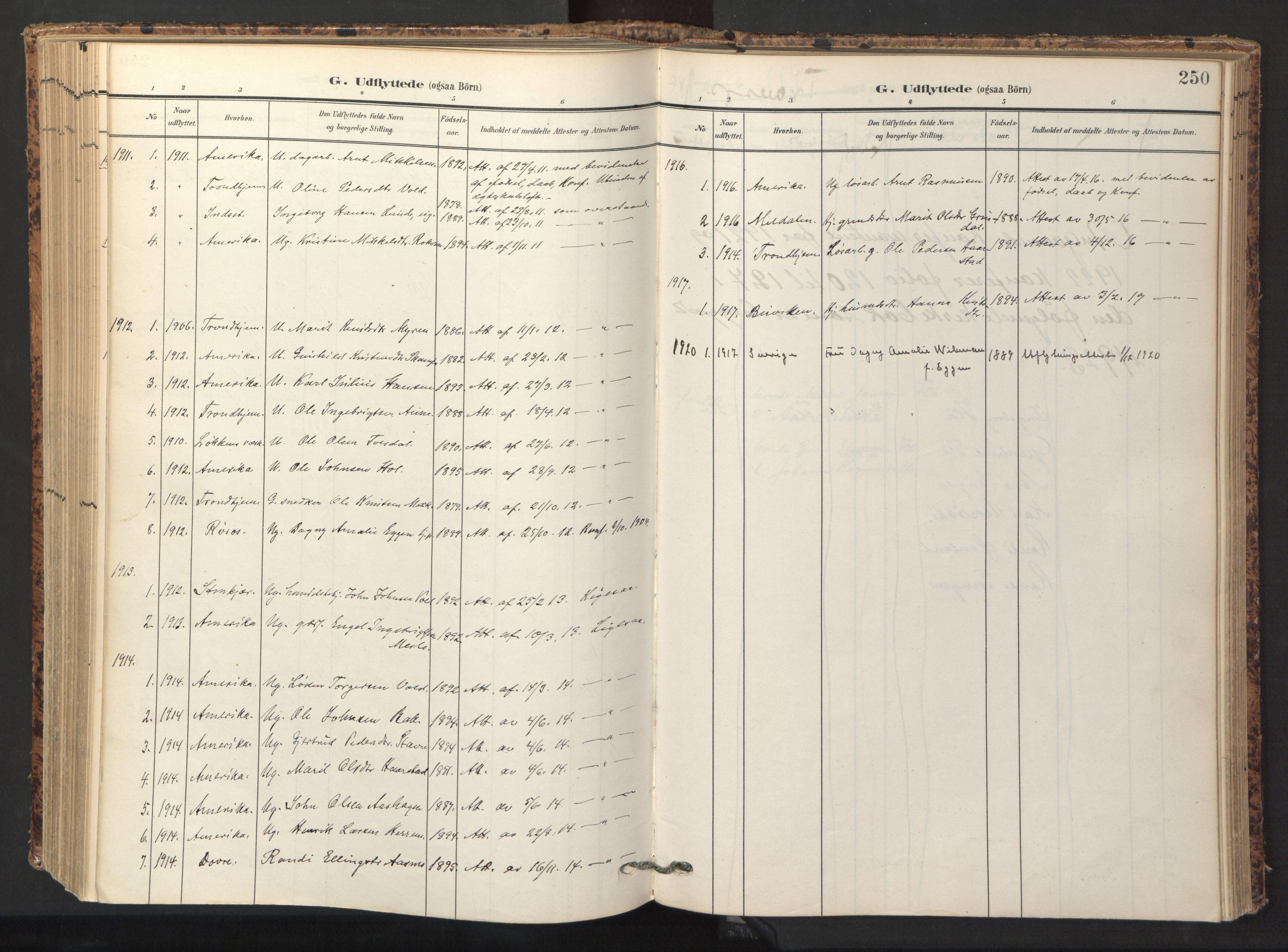 SAT, Ministerialprotokoller, klokkerbøker og fødselsregistre - Sør-Trøndelag, 674/L0873: Ministerialbok nr. 674A05, 1908-1923, s. 250