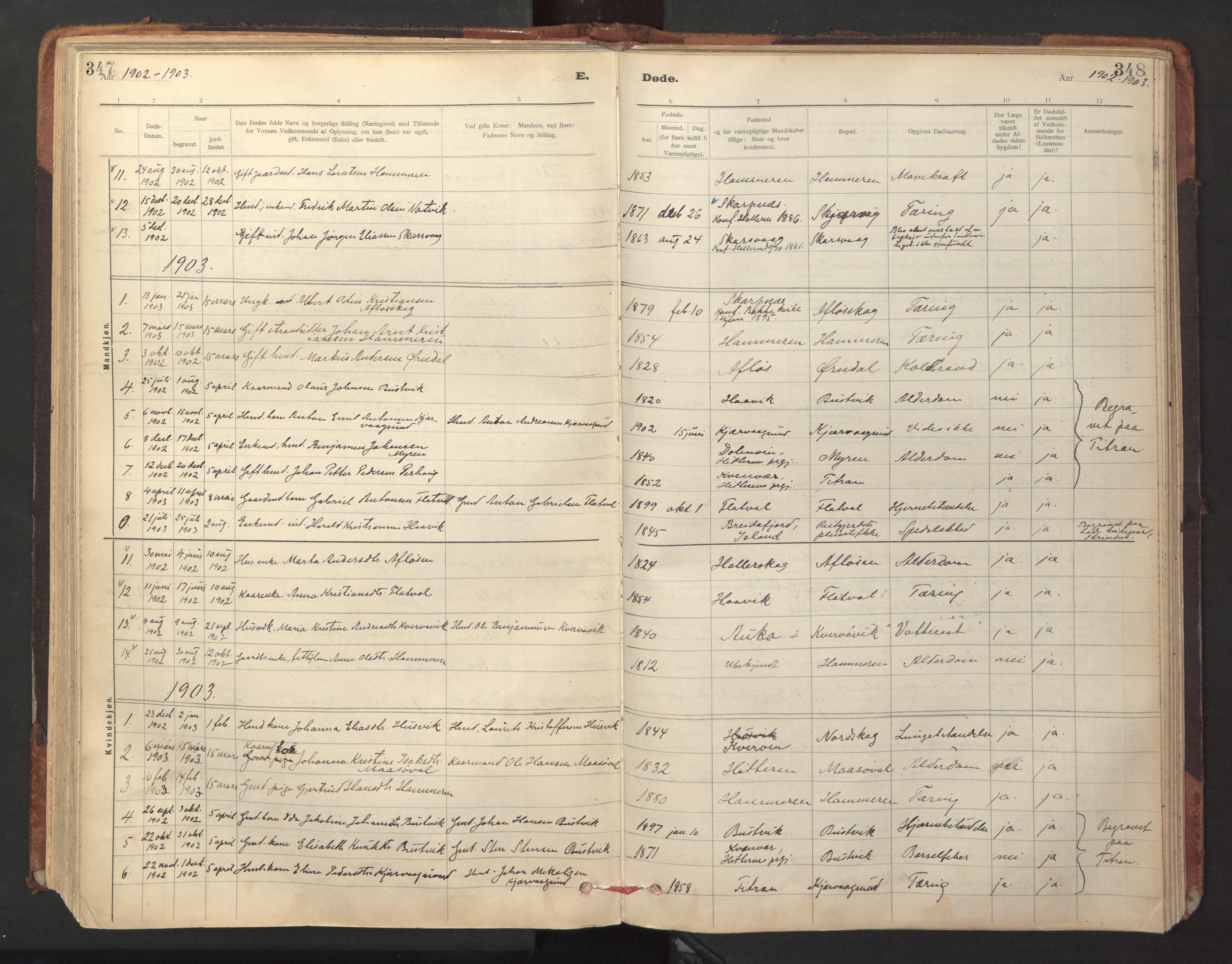 SAT, Ministerialprotokoller, klokkerbøker og fødselsregistre - Sør-Trøndelag, 641/L0596: Ministerialbok nr. 641A02, 1898-1915, s. 347-348