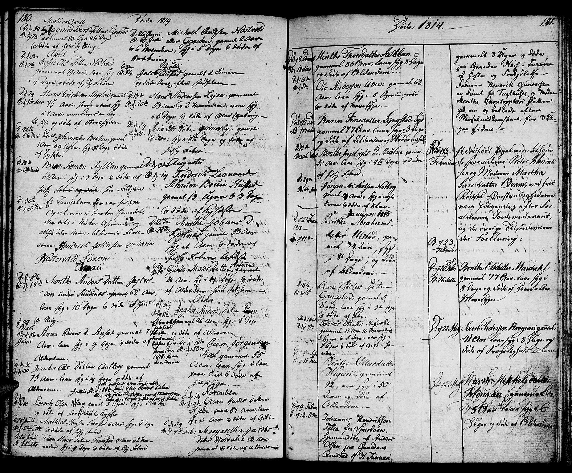 SAT, Ministerialprotokoller, klokkerbøker og fødselsregistre - Nord-Trøndelag, 730/L0274: Ministerialbok nr. 730A03, 1802-1816, s. 180-181