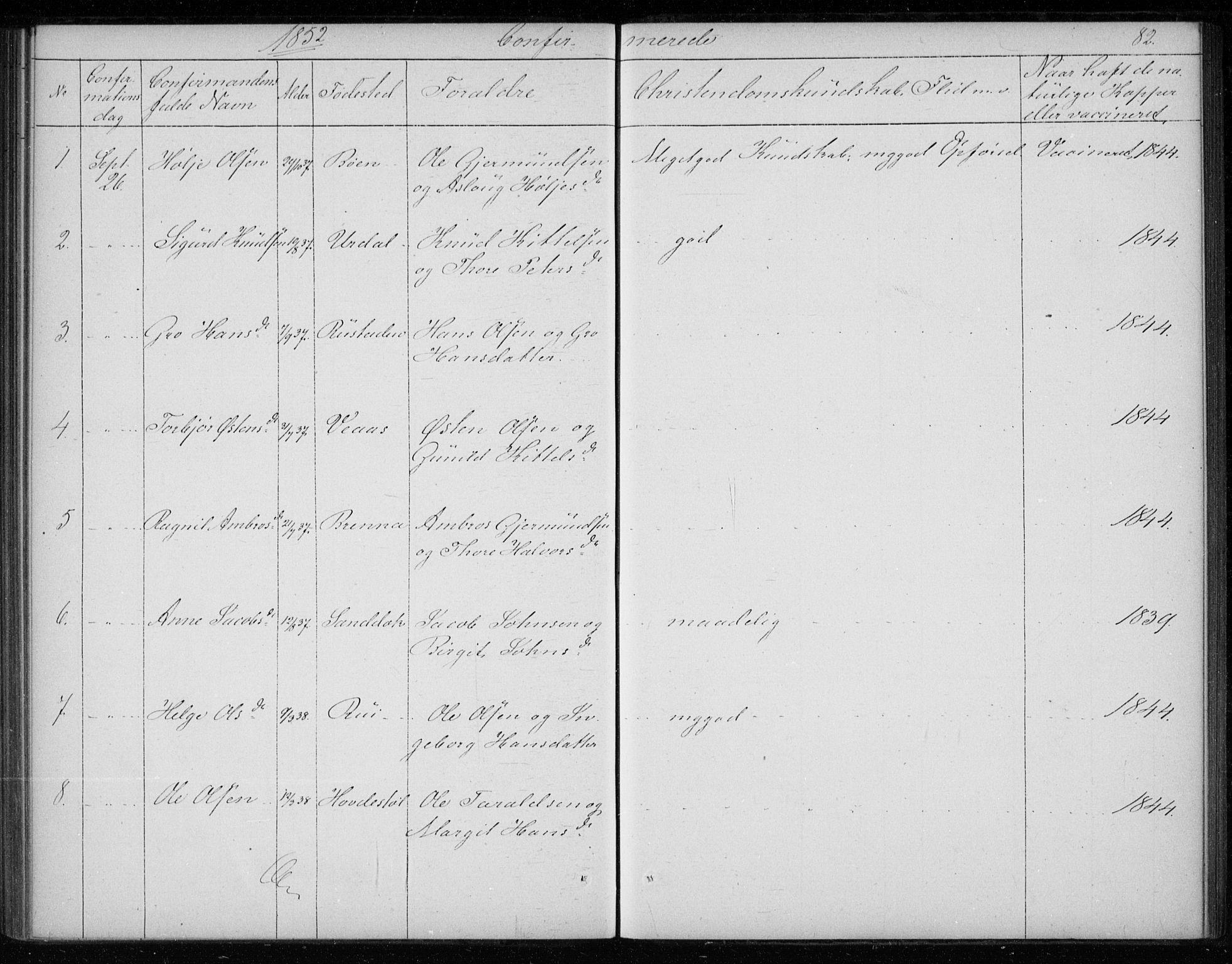 SAKO, Gransherad kirkebøker, F/Fb/L0003: Ministerialbok nr. II 3, 1844-1859, s. 82