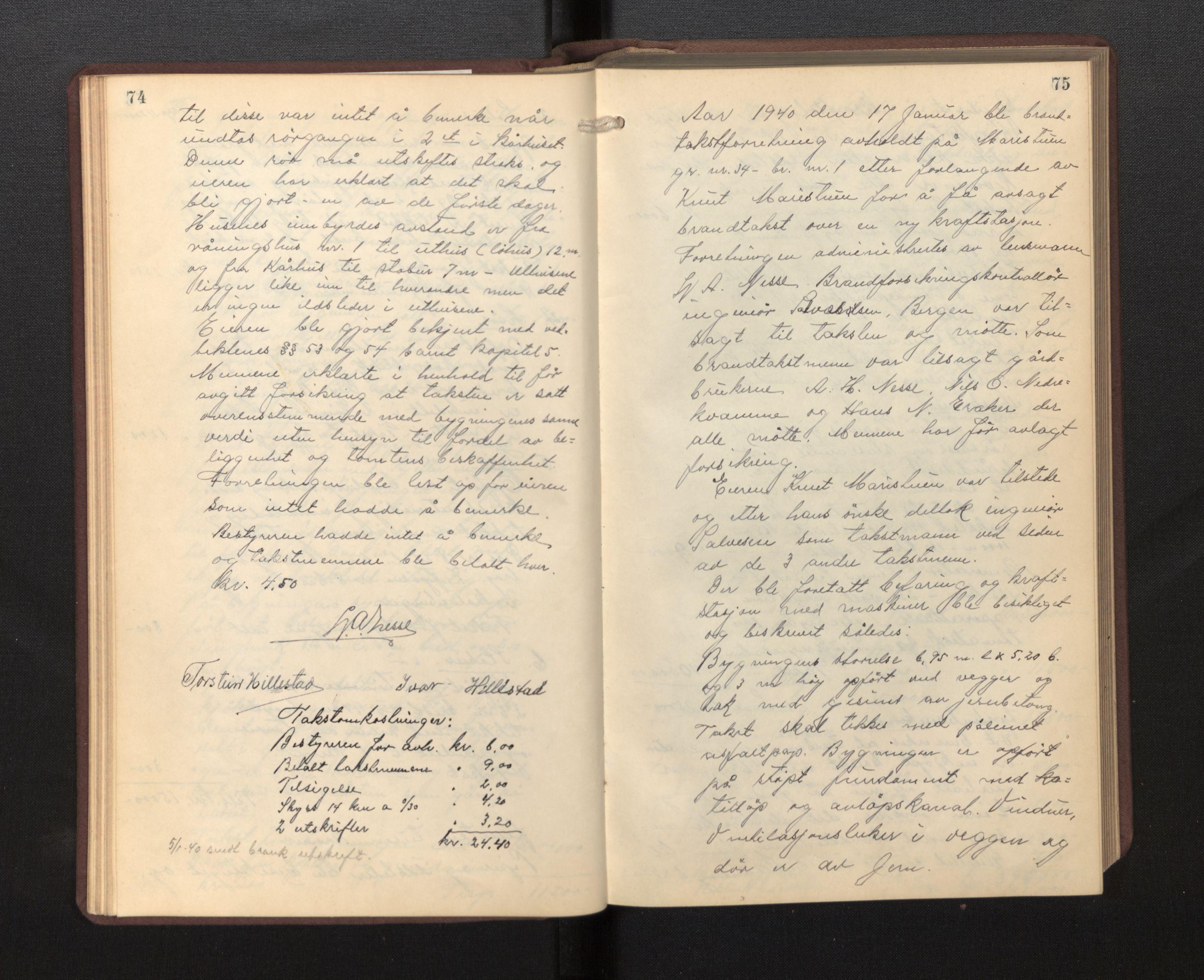 SAB, Lensmannen i Borgund, 0012/L0002: Branntakstprotokoll, 1929-1933, s. 74-75