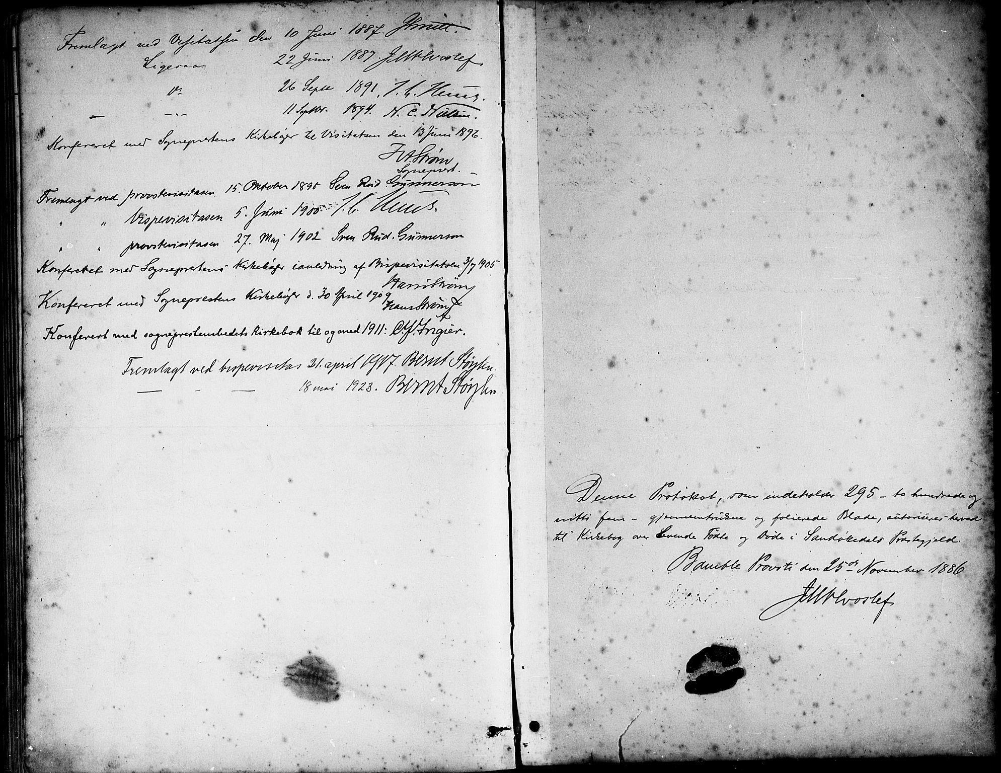 SAKO, Sannidal kirkebøker, G/Ga/L0003: Klokkerbok nr. 3, 1887-1922, s. 296