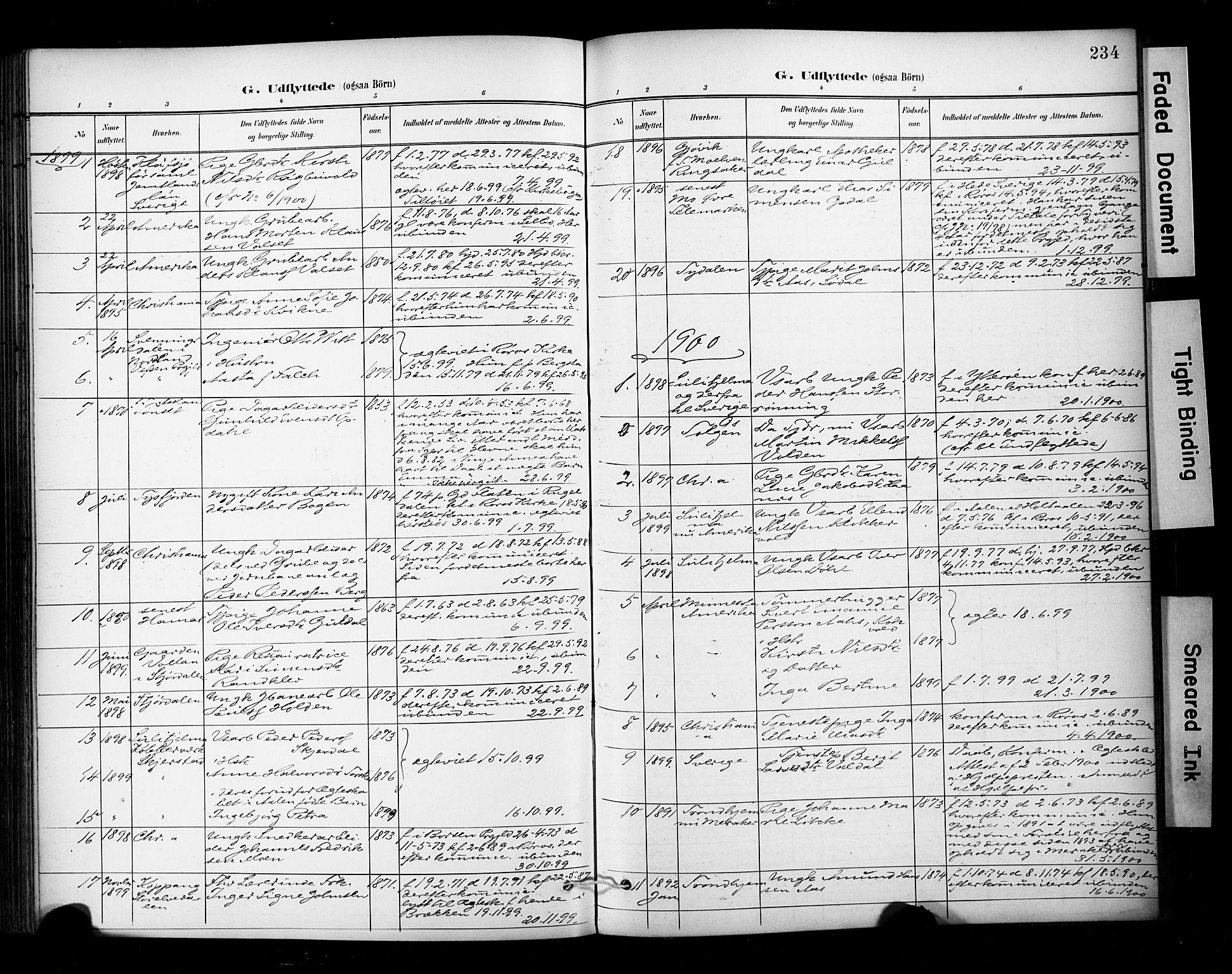 SAT, Ministerialprotokoller, klokkerbøker og fødselsregistre - Sør-Trøndelag, 681/L0936: Ministerialbok nr. 681A14, 1899-1908, s. 234