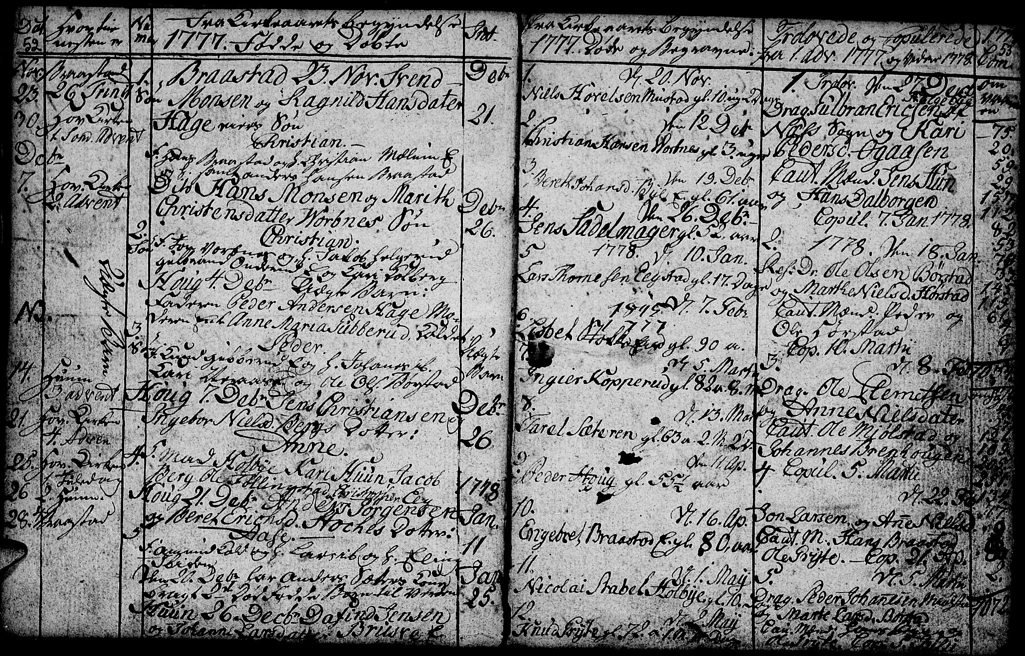 SAH, Vardal prestekontor, H/Ha/Hab/L0001: Klokkerbok nr. 1, 1771-1790, s. 52-53
