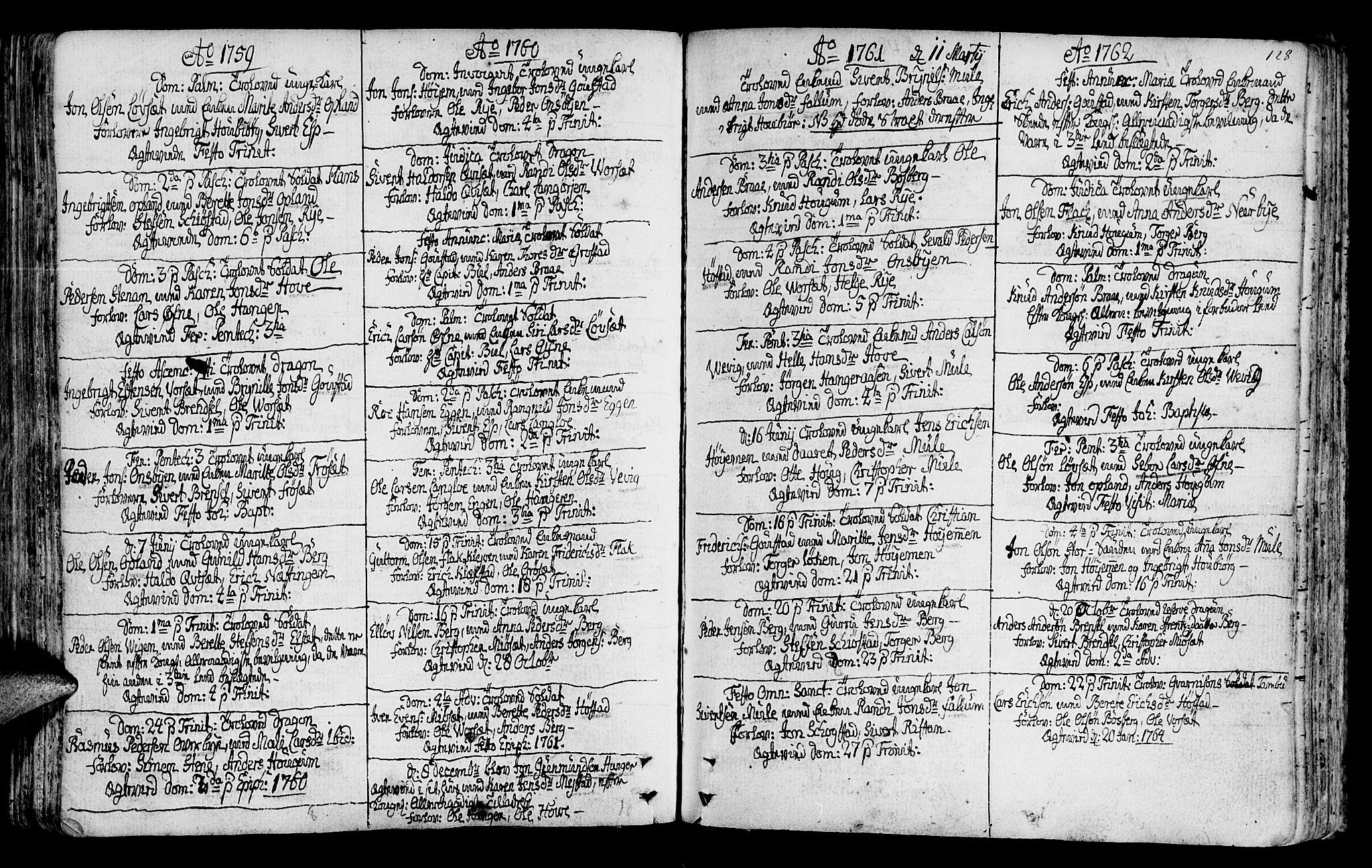 SAT, Ministerialprotokoller, klokkerbøker og fødselsregistre - Sør-Trøndelag, 612/L0370: Ministerialbok nr. 612A04, 1754-1802, s. 128