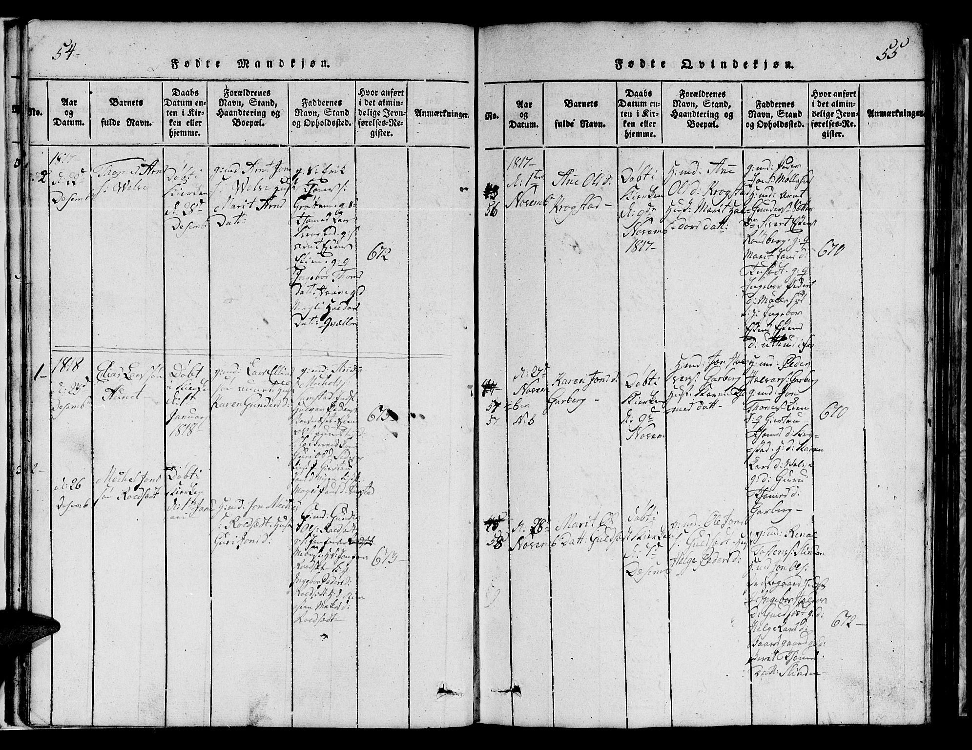 SAT, Ministerialprotokoller, klokkerbøker og fødselsregistre - Sør-Trøndelag, 695/L1152: Klokkerbok nr. 695C03, 1816-1831, s. 54-55