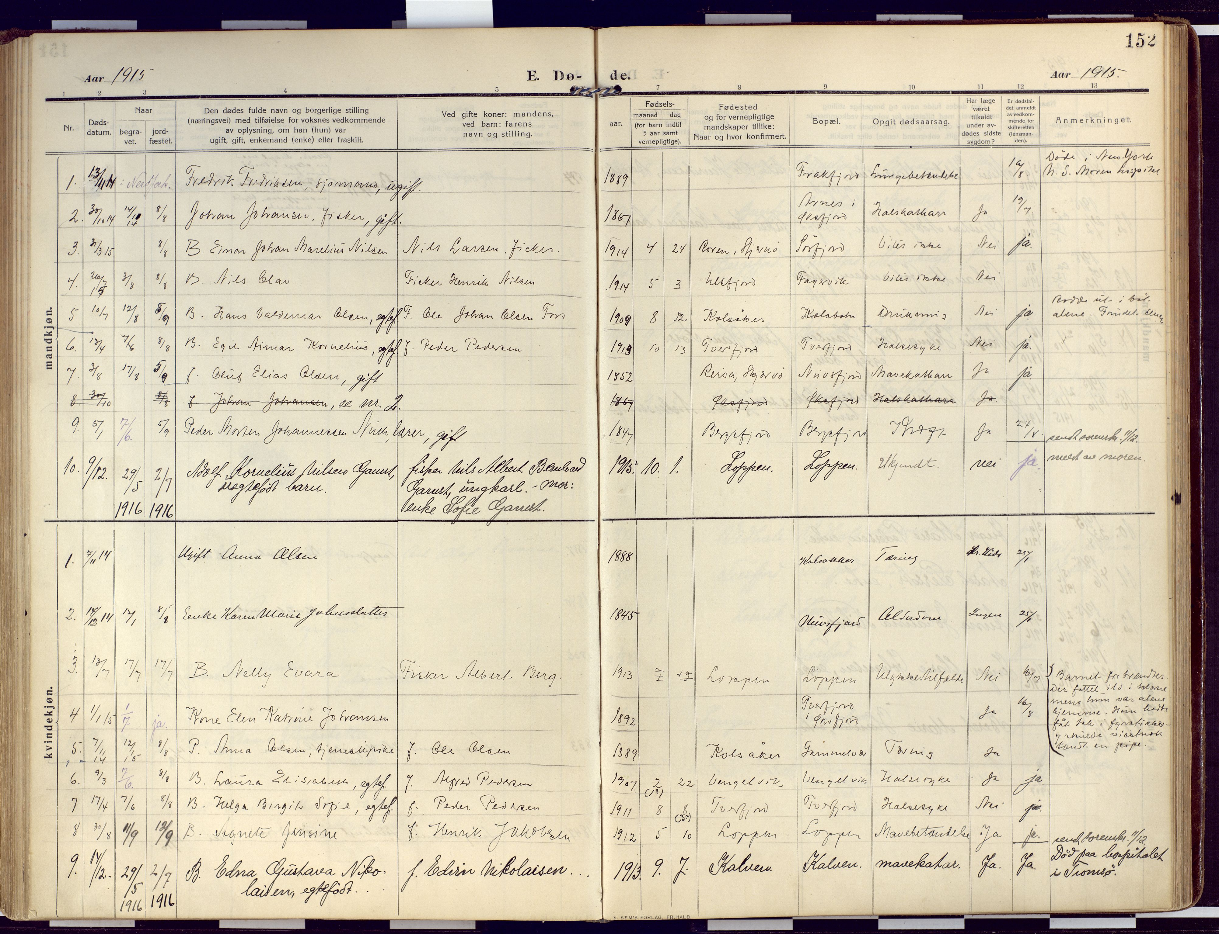SATØ, Loppa sokneprestkontor, H/Ha/L0011kirke: Ministerialbok nr. 11, 1909-1919, s. 152