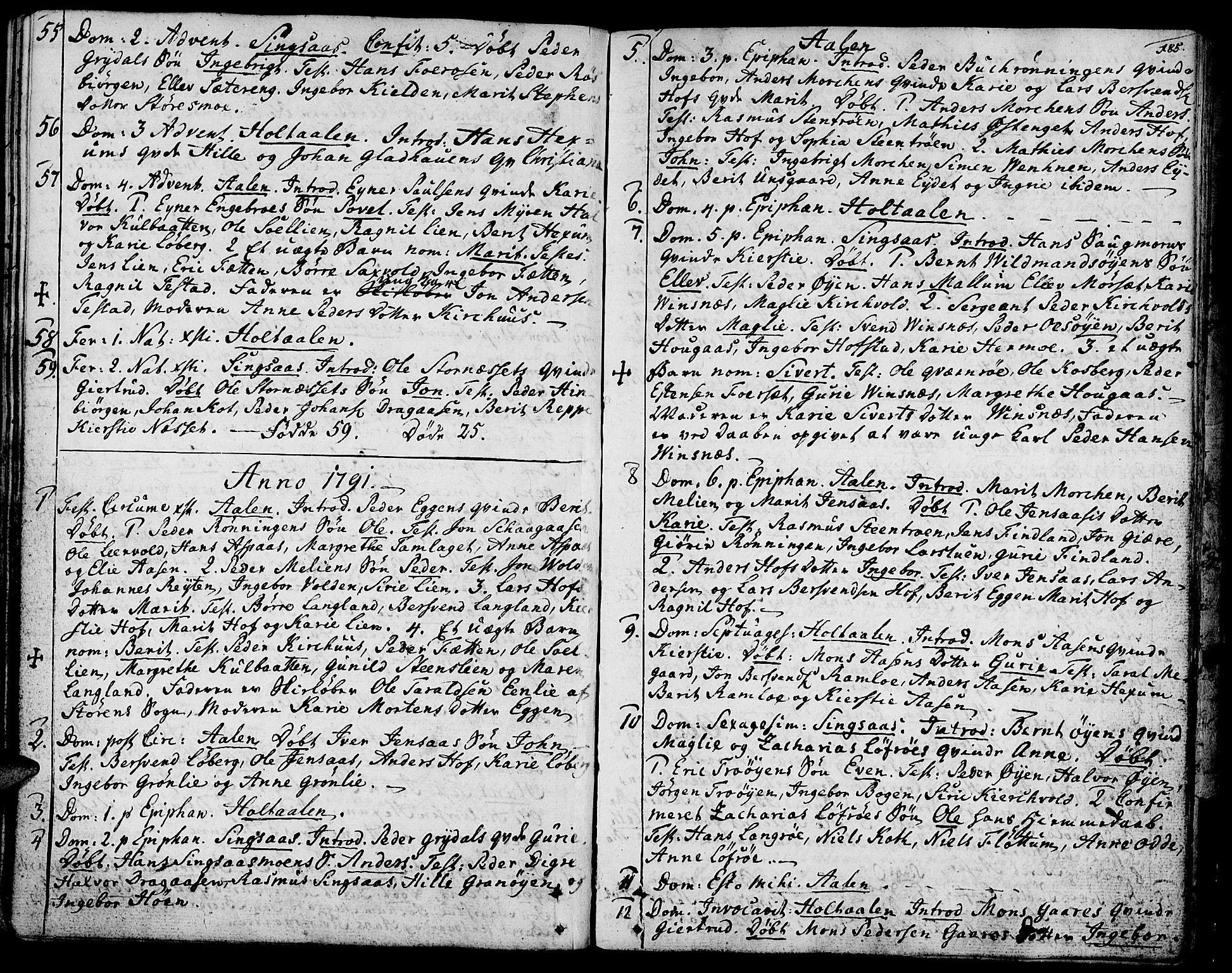 SAT, Ministerialprotokoller, klokkerbøker og fødselsregistre - Sør-Trøndelag, 685/L0952: Ministerialbok nr. 685A01, 1745-1804, s. 185