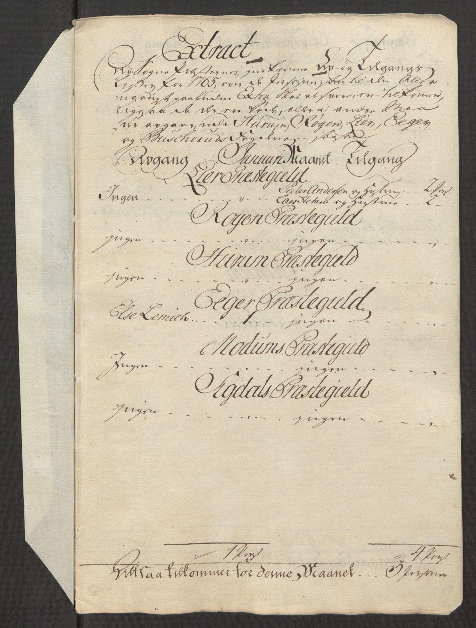 RA, Rentekammeret inntil 1814, Reviderte regnskaper, Fogderegnskap, R31/L1834: Ekstraskatten Hurum, Røyken, Eiker, Lier og Buskerud, 1765, s. 456