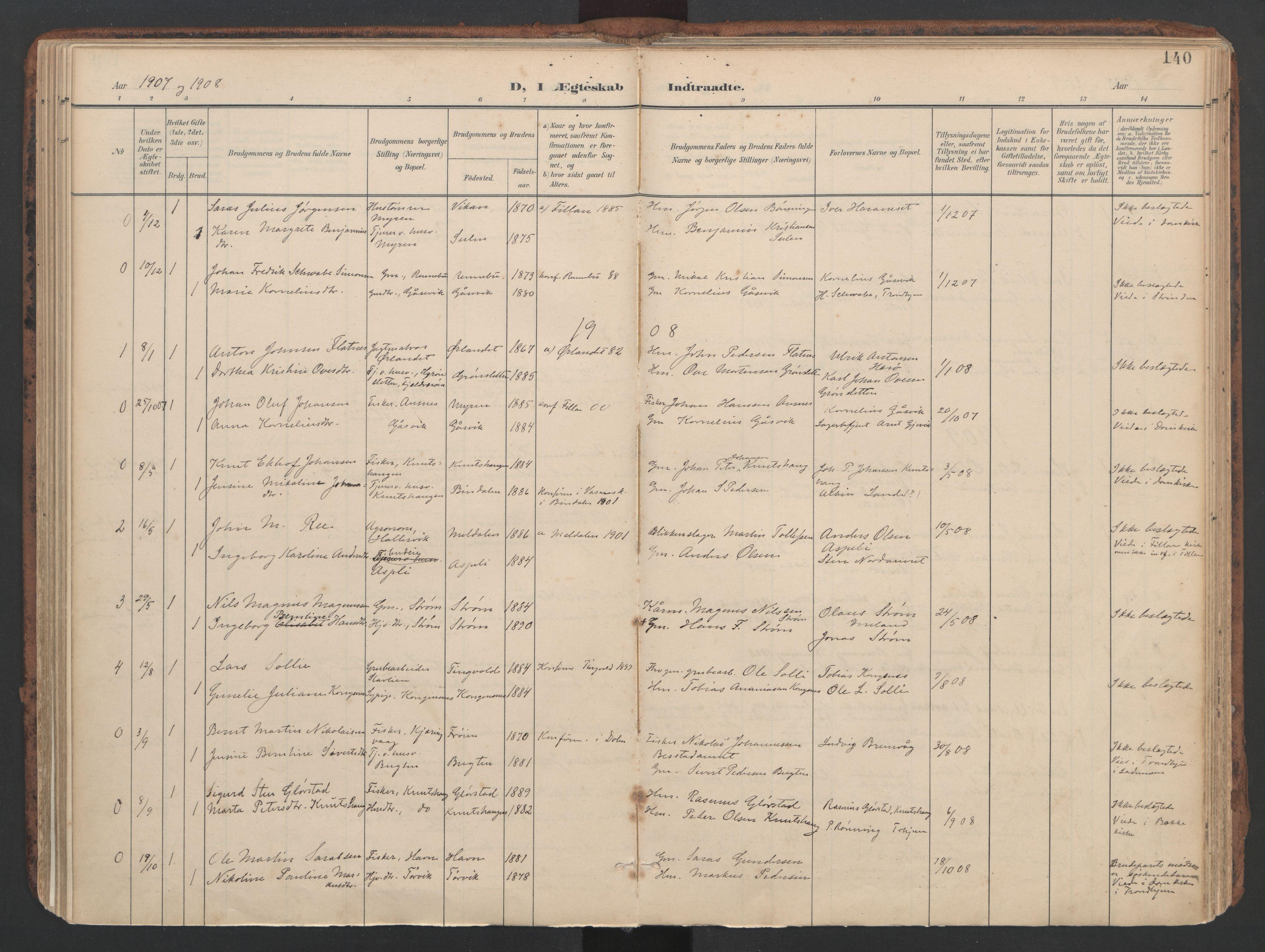 SAT, Ministerialprotokoller, klokkerbøker og fødselsregistre - Sør-Trøndelag, 634/L0537: Ministerialbok nr. 634A13, 1896-1922, s. 140