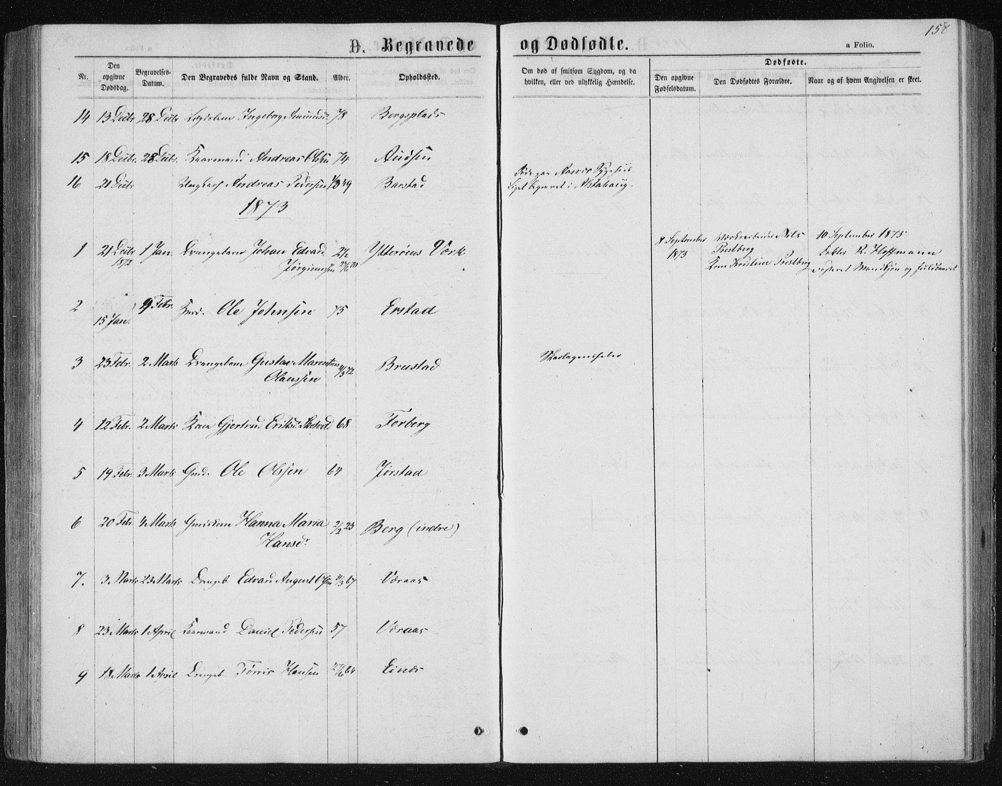 SAT, Ministerialprotokoller, klokkerbøker og fødselsregistre - Nord-Trøndelag, 722/L0219: Ministerialbok nr. 722A06, 1868-1880, s. 158