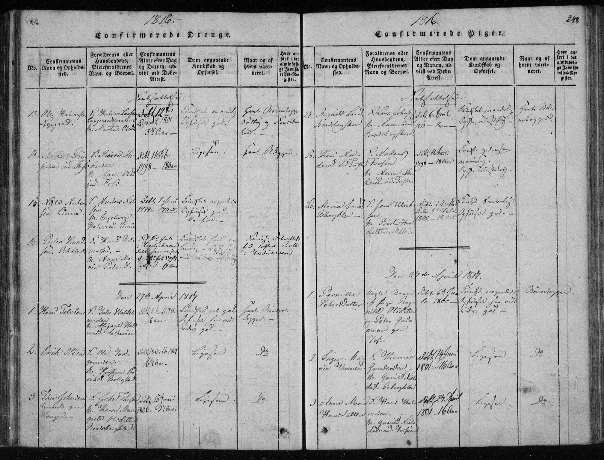 SAKO, Gjerpen kirkebøker, F/Fa/L0004: Ministerialbok nr. 4, 1814-1823, s. 248
