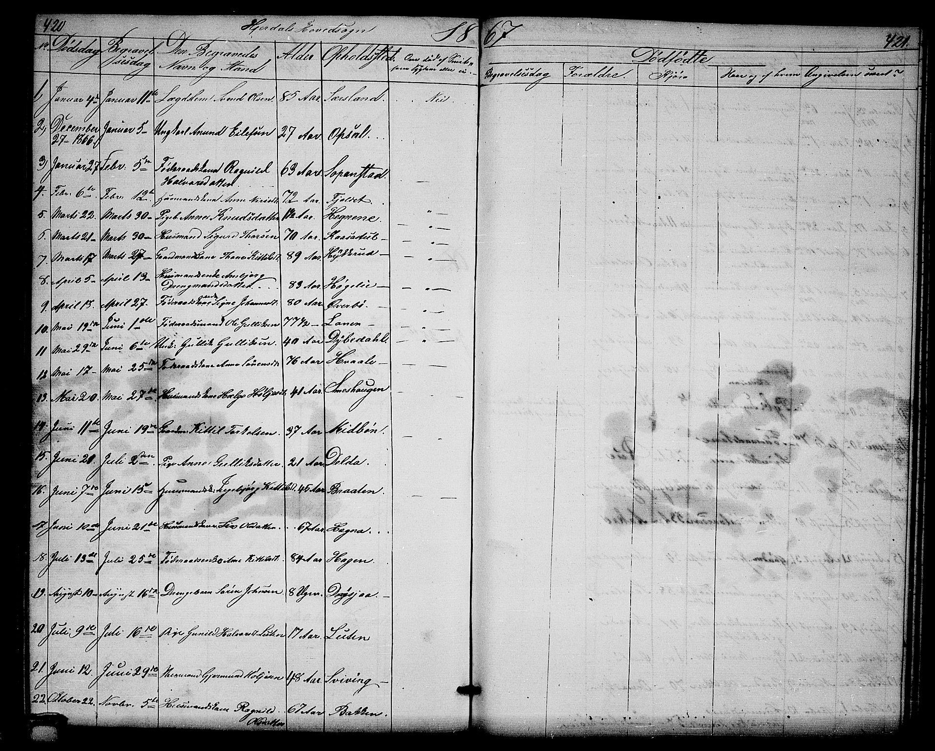 SAKO, Hjartdal kirkebøker, G/Ga/L0002: Klokkerbok nr. I 2, 1854-1888, s. 420-421