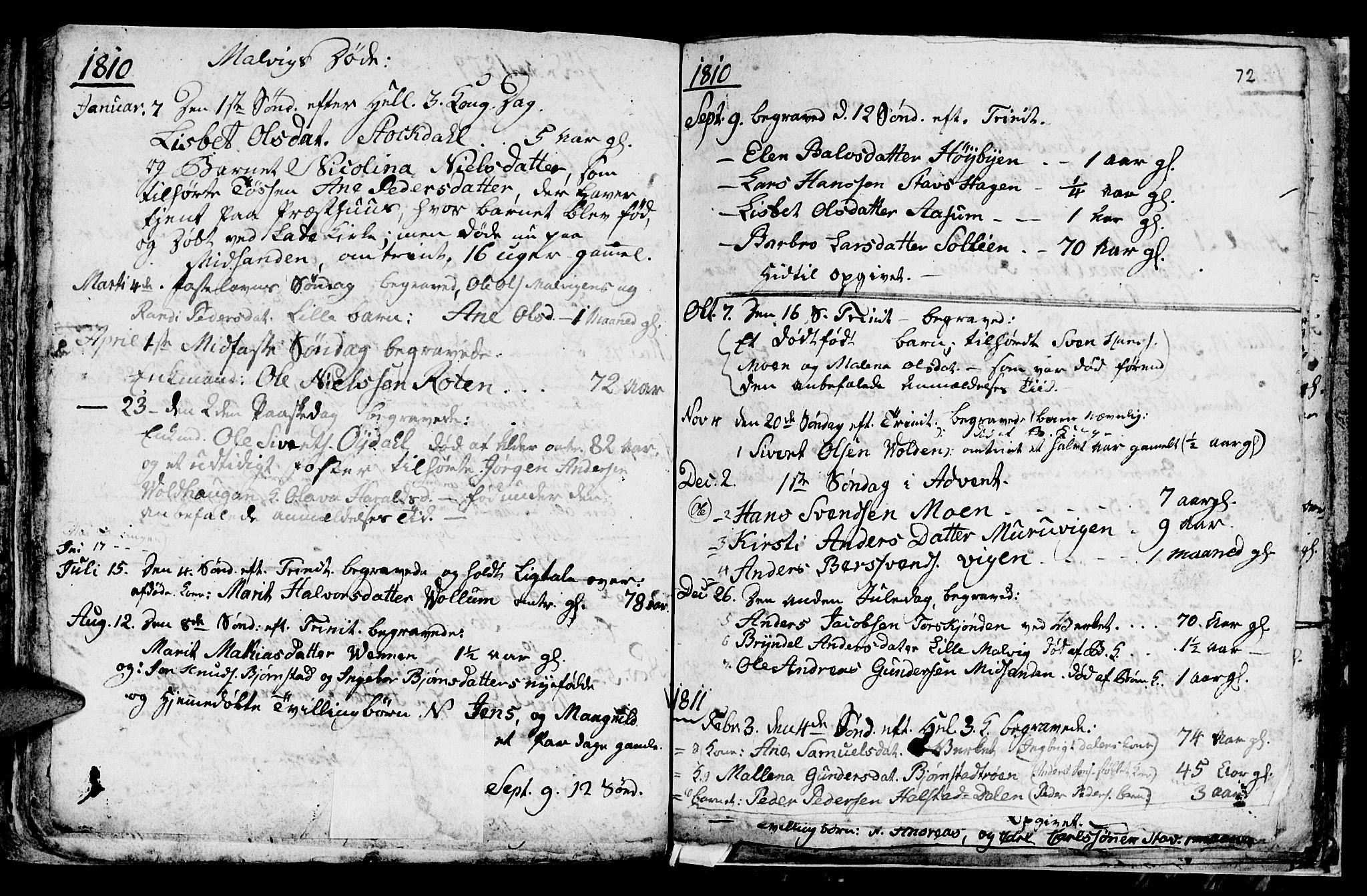 SAT, Ministerialprotokoller, klokkerbøker og fødselsregistre - Sør-Trøndelag, 616/L0419: Klokkerbok nr. 616C02, 1797-1816, s. 72